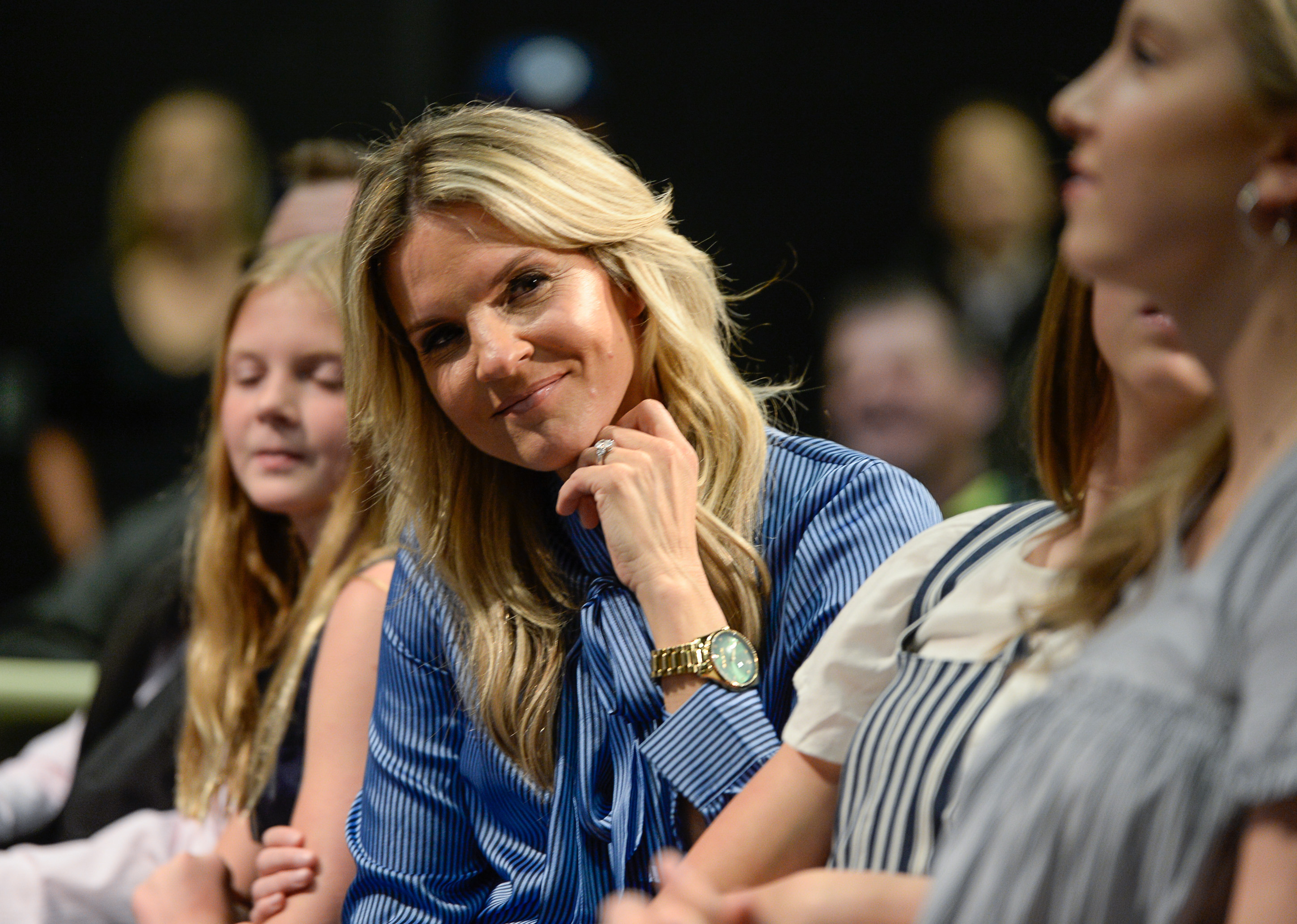 (Francisco Kjolseth  |  The Salt Lake Tribune)  Lee Anne Pope looks over at her daughters as her husband Mark is announced as BYU's new head basketball coach during a press event at the BYU broadcasting building on Wed. April 10, 2019.
