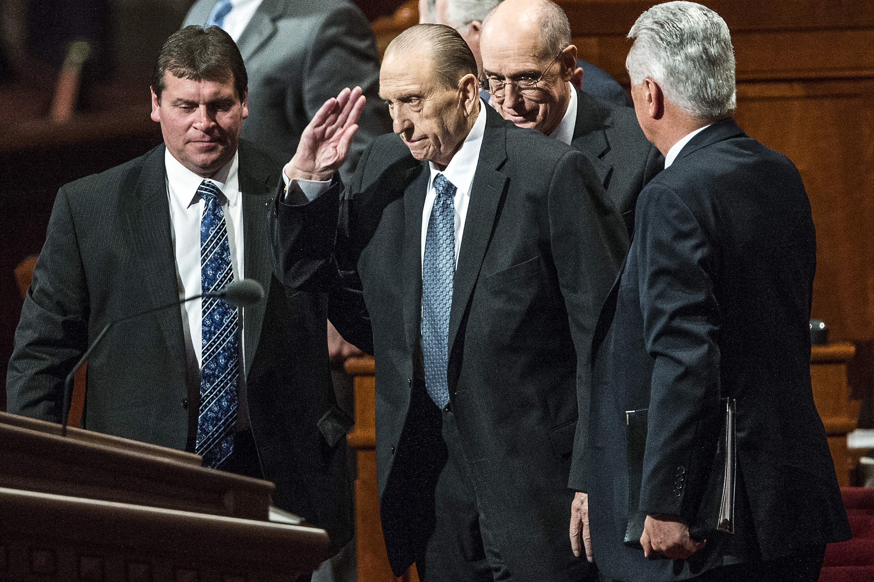 (Chris Detrick  |  The Salt Lake Tribune) LDS Church President Thomas S. Monson salutes the crowd during the 185th Annual LDS General Conference Saturday April 4, 2015.