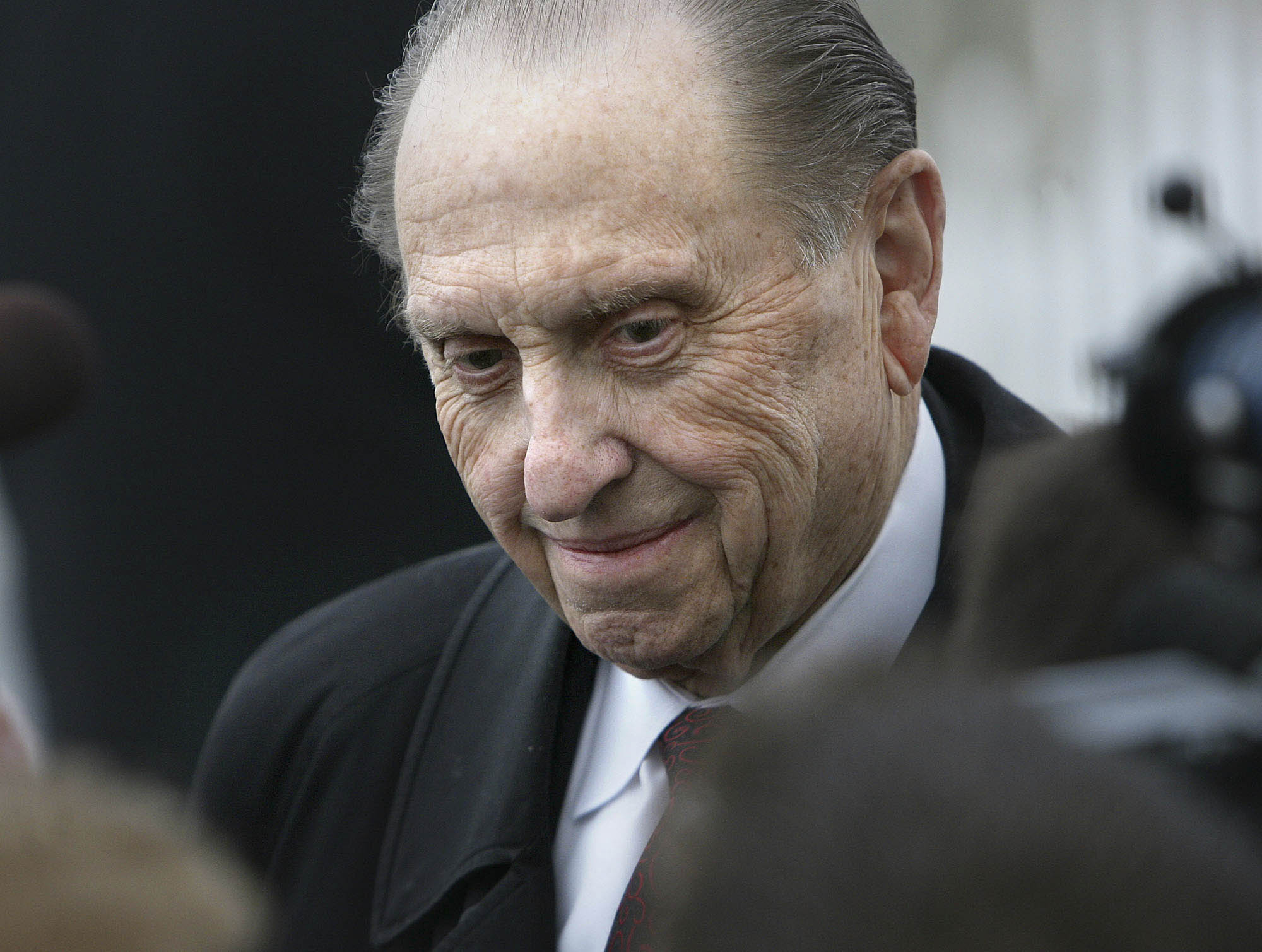 (Scott Sommerdorf  |  The Salt Lake Tribune) President Thomas S. Monson pauses to answer some questions from reporters who had gathered to see him dedicate the LDS temple in Rexburg, Idaho, on Feb. 10, 2008.