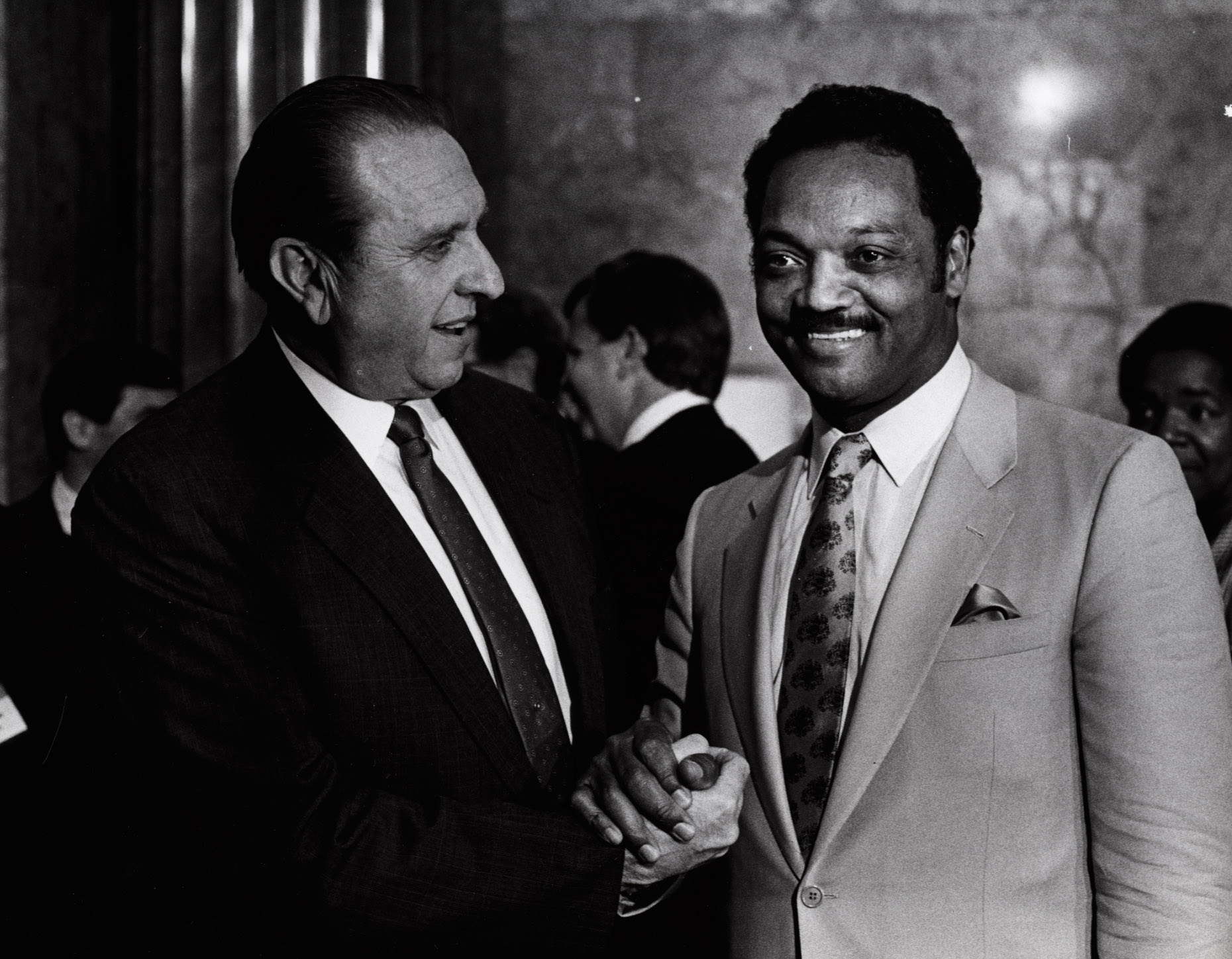 (Tribune file photo) President Thomas S. Monson and the Rev. Jesse Jackson in 1988.