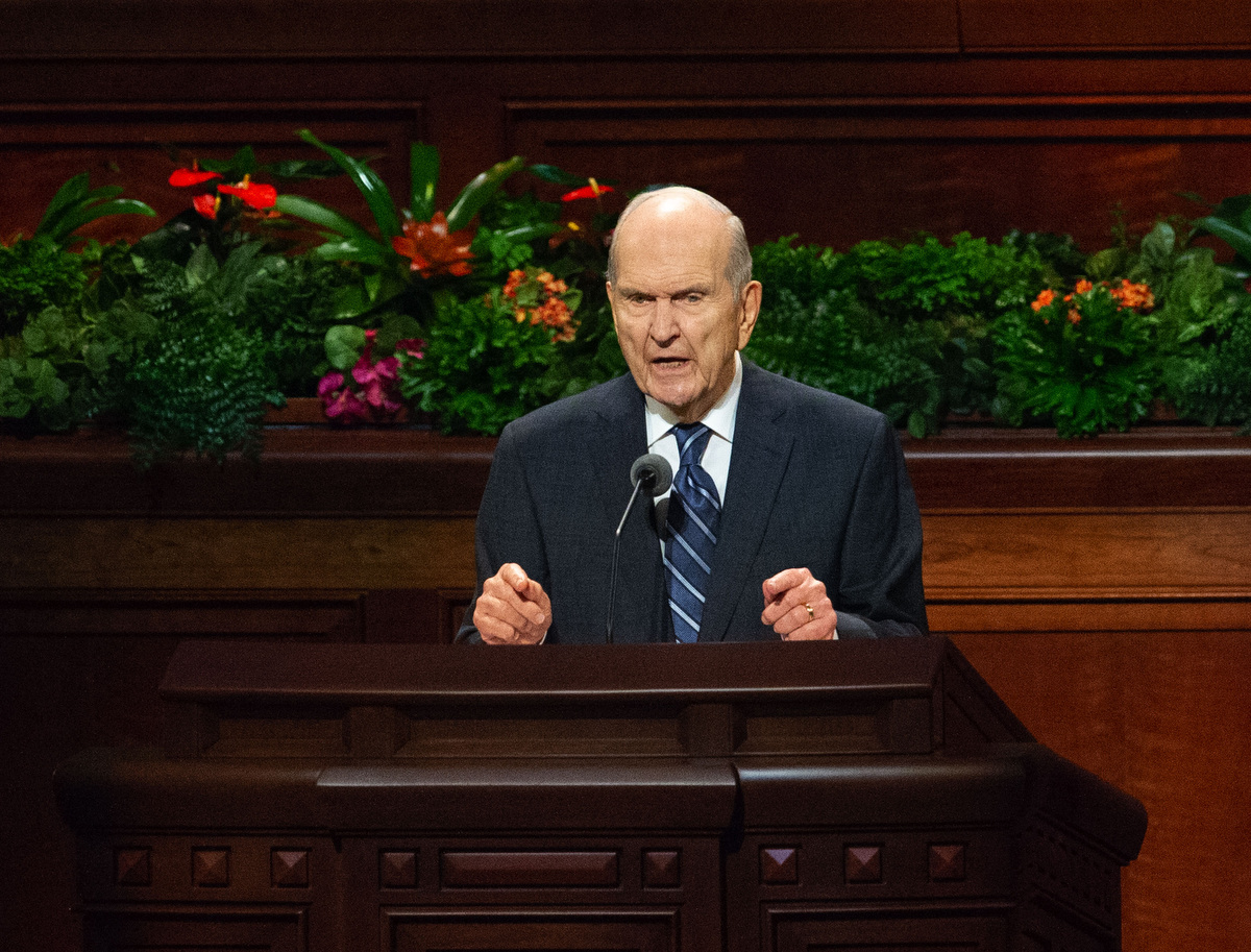 (Keith Johnson | Special to The Tribune) President Russell M. Nelson speaks about the name of name of the church during the 188th Semiannual General Conference of The Church of Jesus Christ of  Latter-day Saints on Oct. 7, 2018, in Salt Lake City.