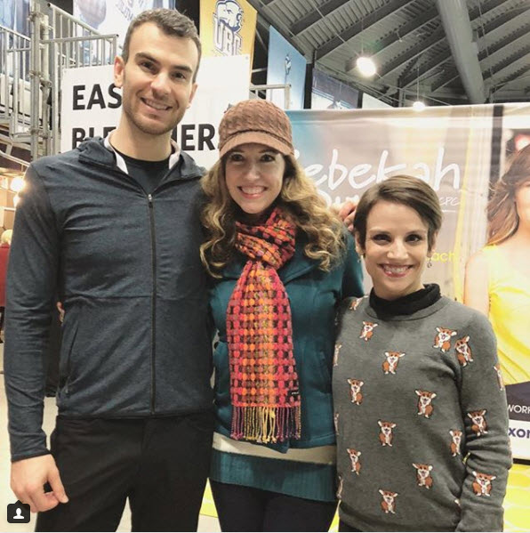 (Photo courtesy of April Meservy) April Meservy, center, in Vancouver, with Canadian pairs figure skaters Eric Radford and Meagan Duhamel, on Jan. 12, 2018.