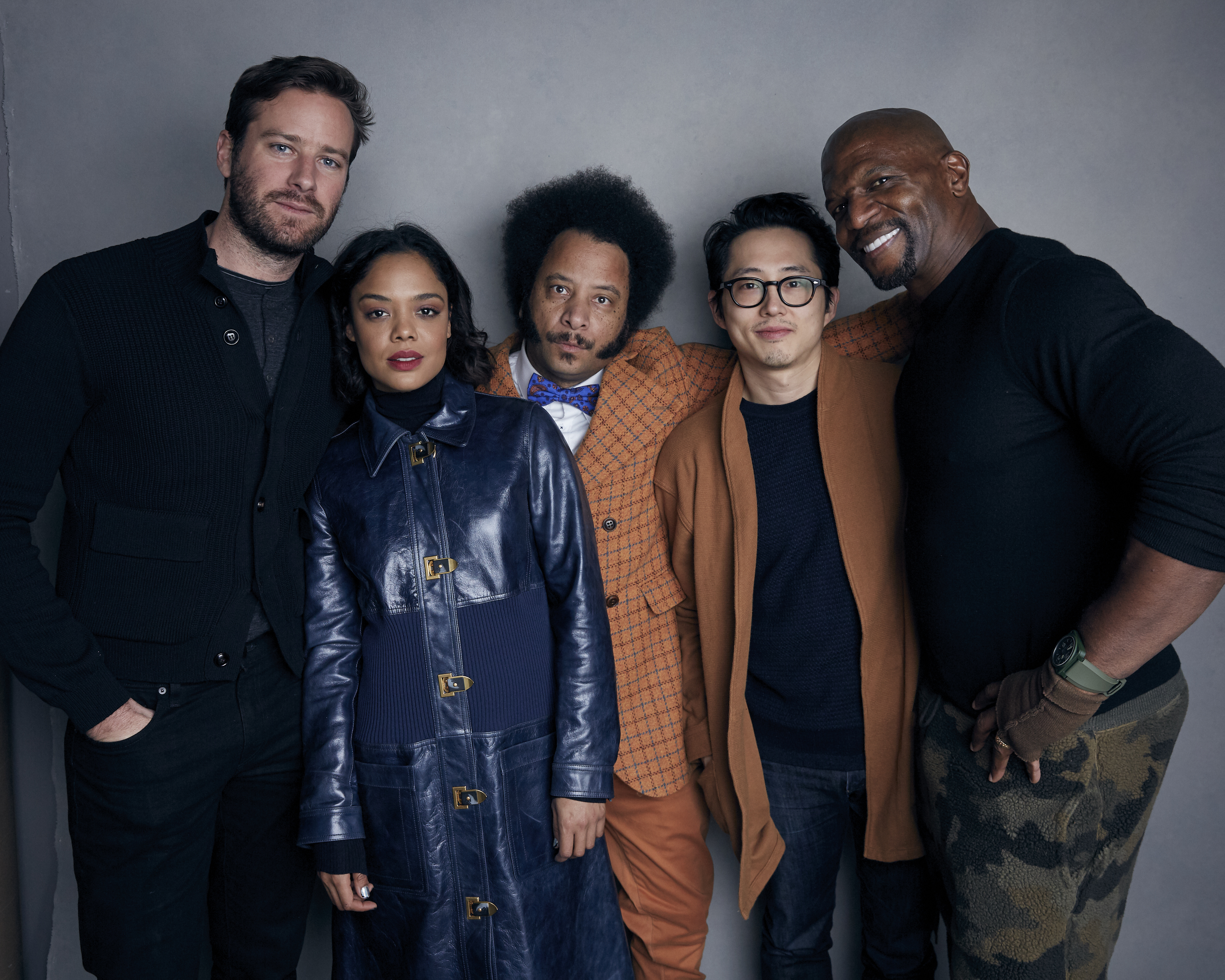 """(File photo by Taylor Jewell, Invision via Associated Press) Armie Hammer, from left, Tessa Thompson, director Boots Riley, Steven Yeun and Terry Crews pose for a portrait to promote """"Sorry to Bother You""""  during the 2018 Sundance Film Festival in Park City."""