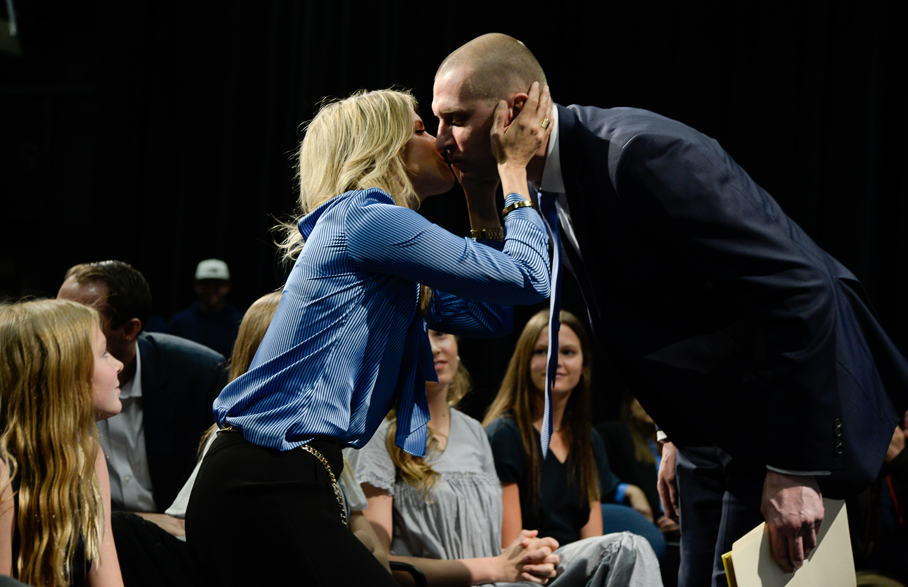 (Francisco Kjolseth  |  The Salt Lake Tribune)  Mark Pope gets a kiss from his wife Lee Anne as BYU announces him as its new head basketball coach during a press event at the BYU broadcasting building on Wed. April 10, 2019.