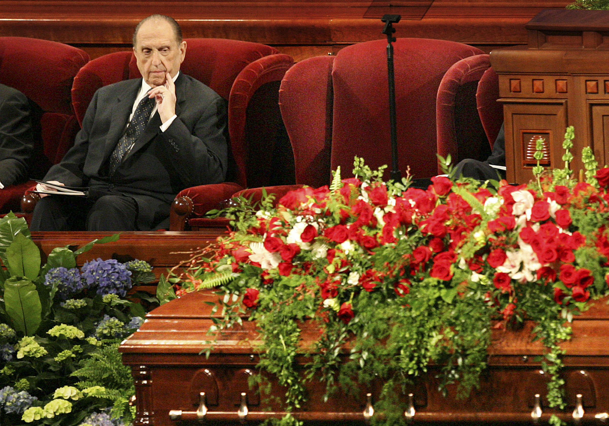 (Scott Sommedorf  |  The Salt Lake Tribune) President Thomas S. Monson ponders at the funeral for his friend President Gordon B. Hinckley at the Conference Center on Feb. 2, 2008.