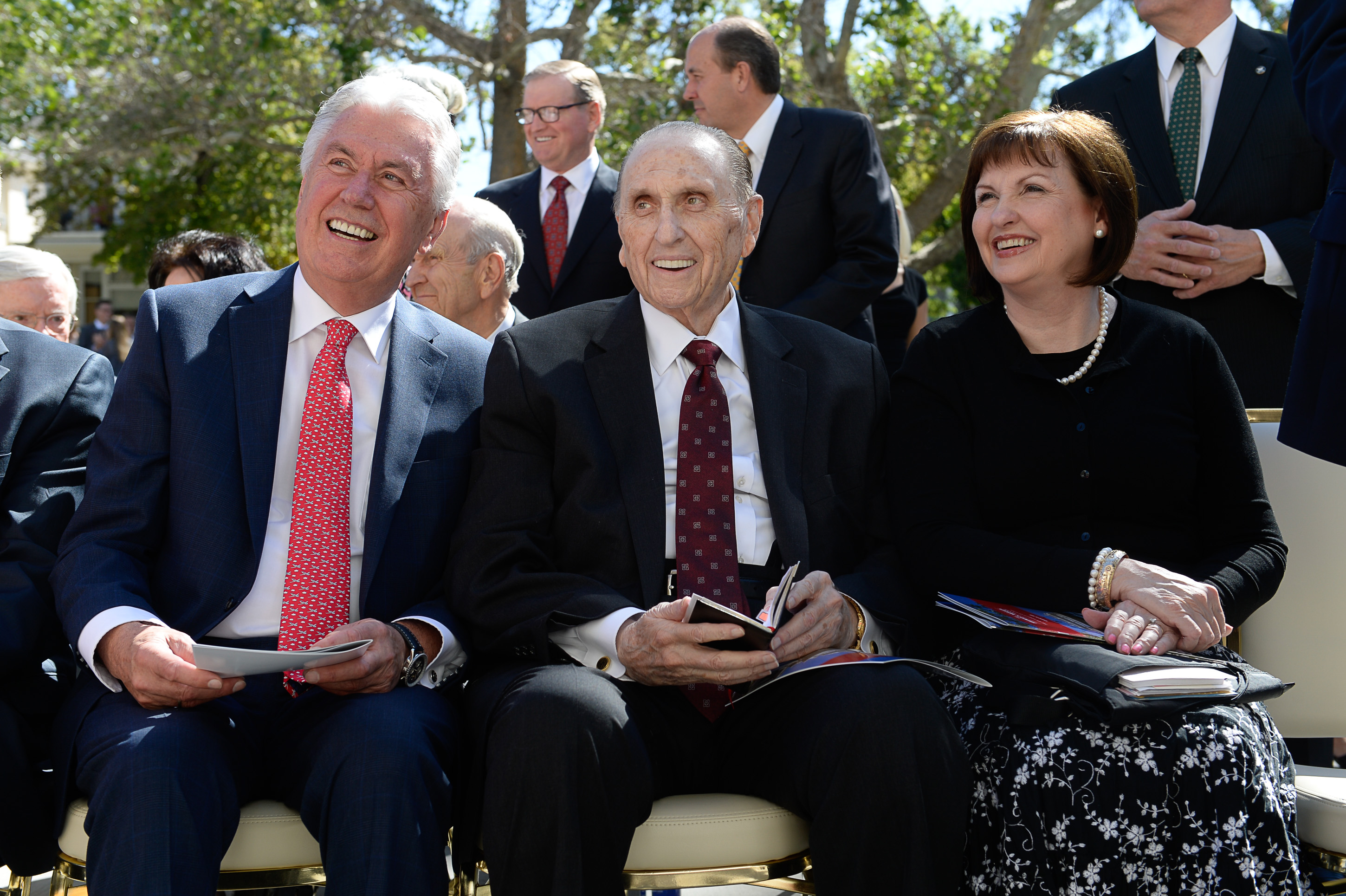 (Francisco Kjolseth  |  The Salt Lake Tribune) President Thomas S. Monson (center) is joined by second counselor Dieter F. Uchtdorf, and daughter Ann Dibb as the University of Utah unveils the newly refurbished Enos A. Wall Mansion named after the LDS leader in August 2016.