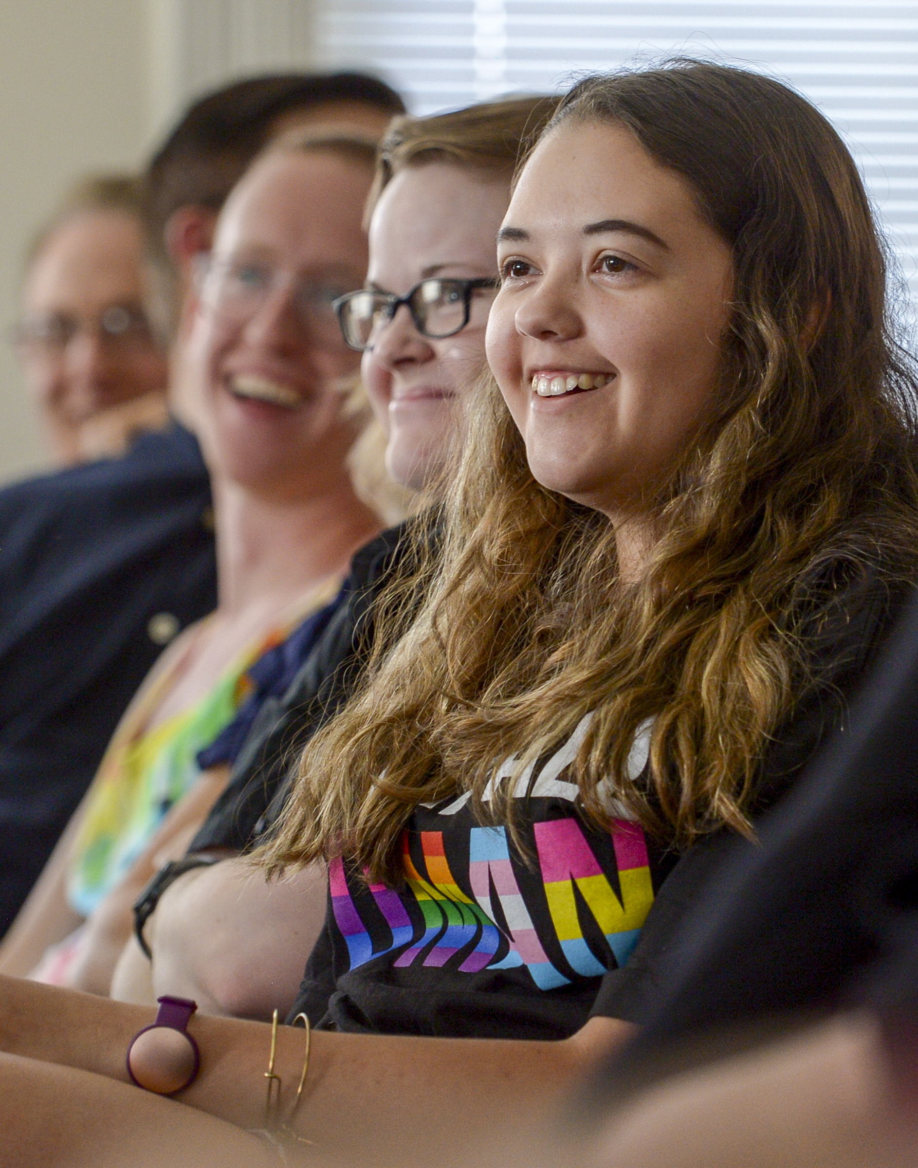 Leah Hogsten  |  The Salt Lake Tribune  LGBT Brigham Young University student Sam Ortiz meets with other USGA members at the Provo City Library, June 28, 2018 to hold open, respectful discussions on the topic of same-gender attraction. USGA is an organization for LGBT Brigham Young University students and their allies to discuss issues relating to homosexuality and the LDS Church.
