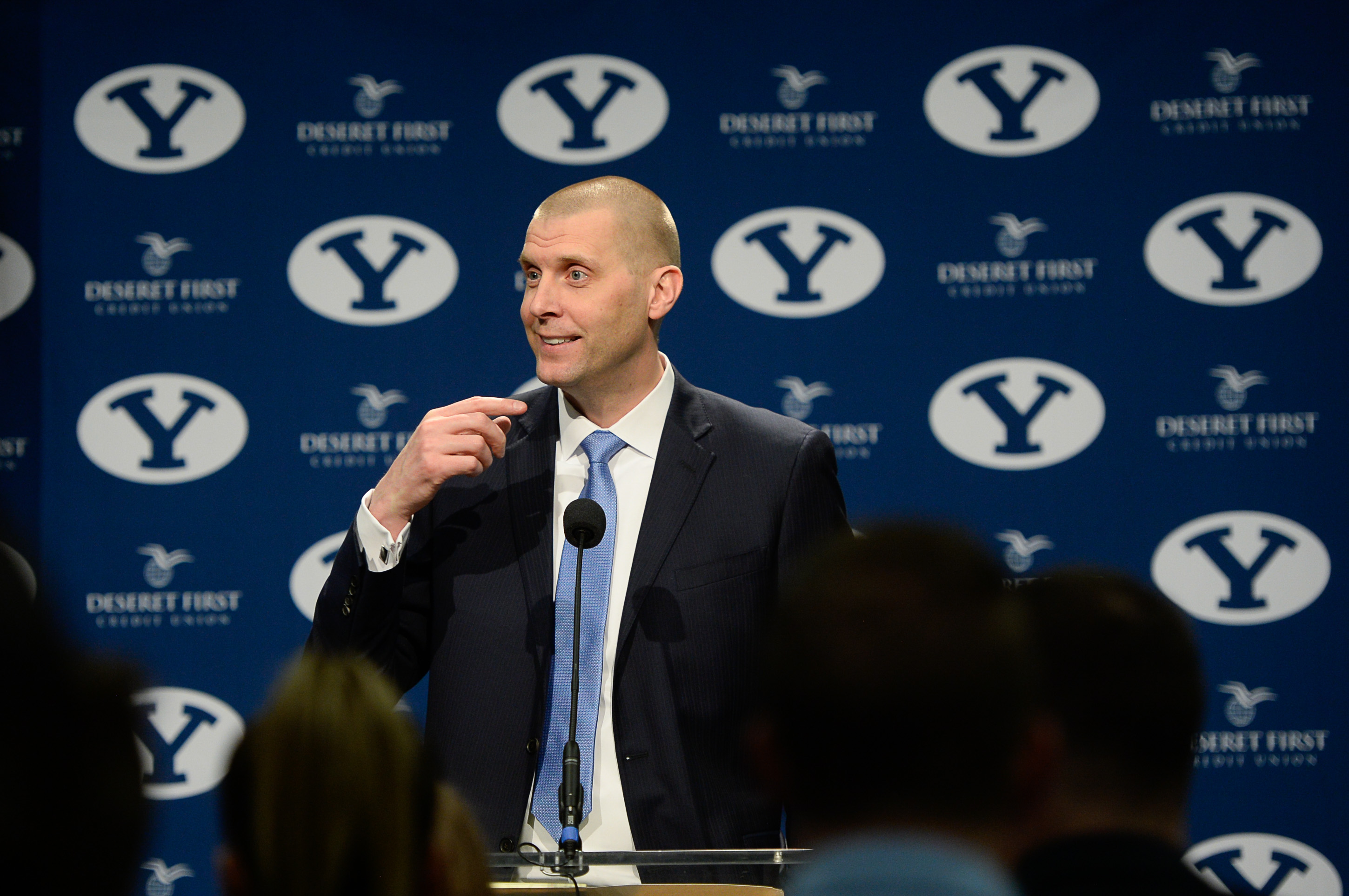 (Francisco Kjolseth  |  The Salt Lake Tribune)  Mark Pope takes questions from the media after being announced as BYU's new head basketball coach during a press event at the BYU broadcasting building on Wed. April 10, 2019.