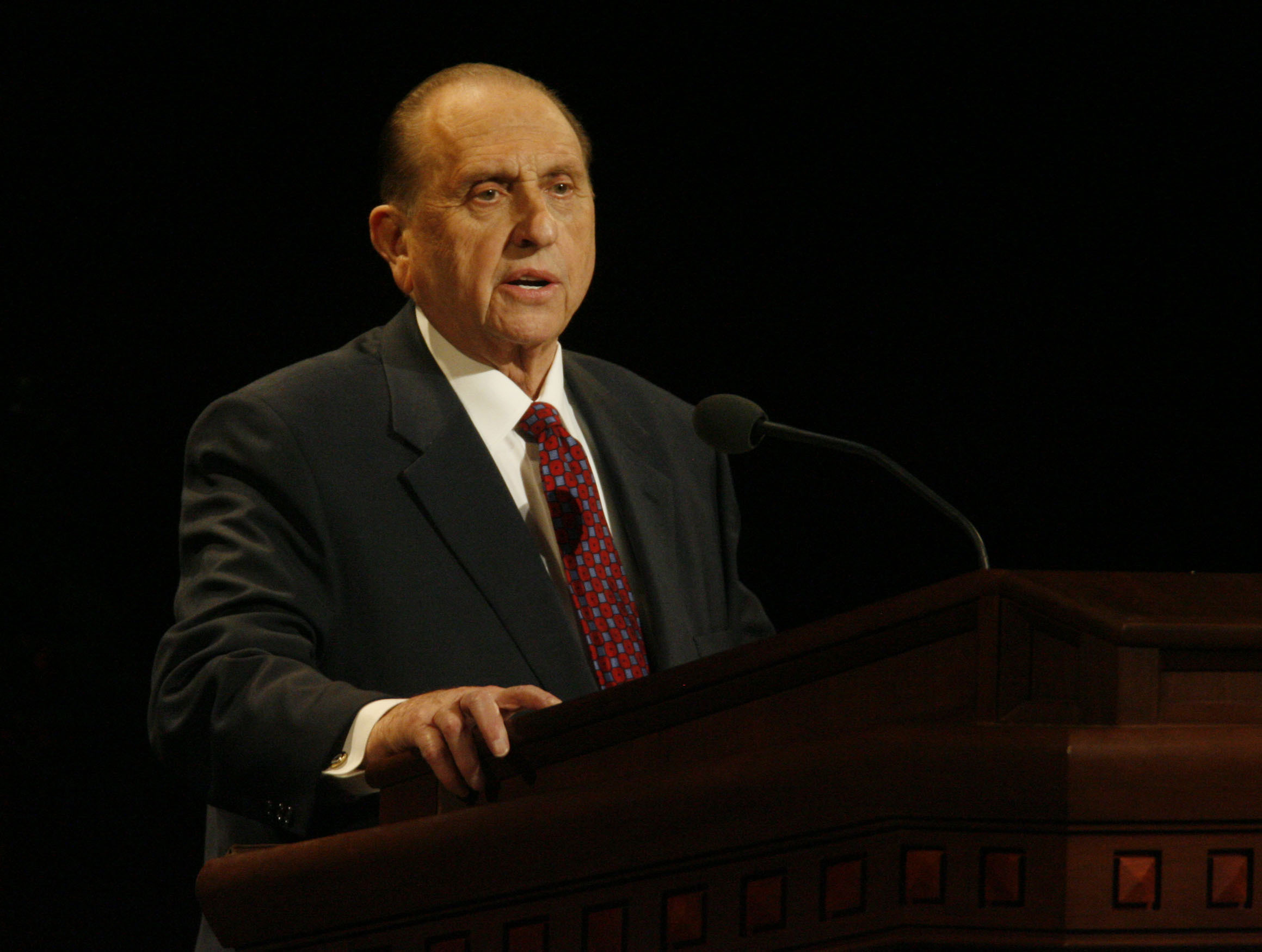 (Rick Egan  |  The Salt Lake Tribune) Thomas S. Monson speaks at the General Relief Society Meeting in September 2007.