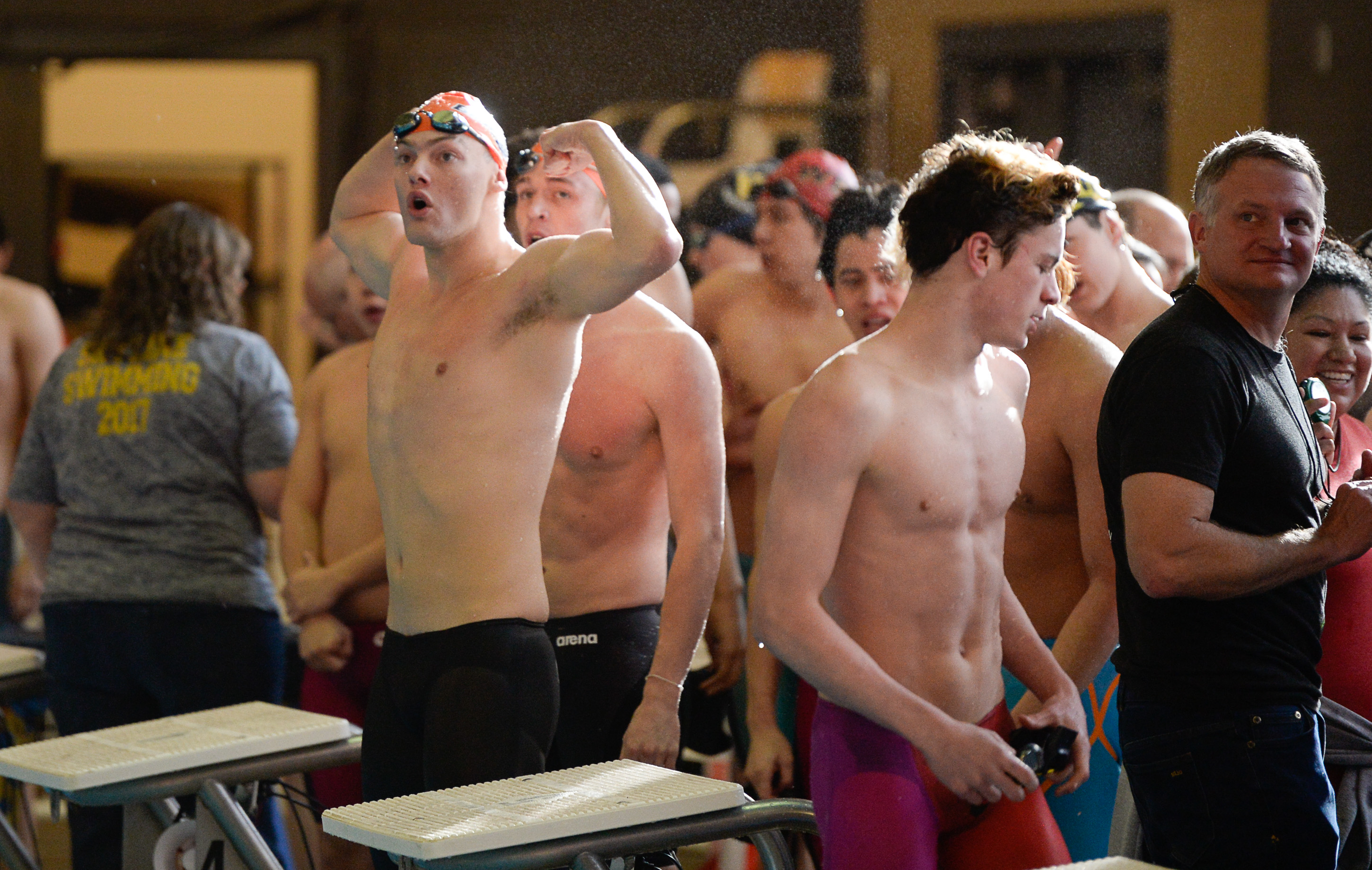 (Francisco Kjolseth  |  The Salt Lake Tribune)  Bountiful celebrates their win in the 200 Yard Medley Relay at the high school swimming 5A State Championships in Bountiful, Friday February 9, 2018.