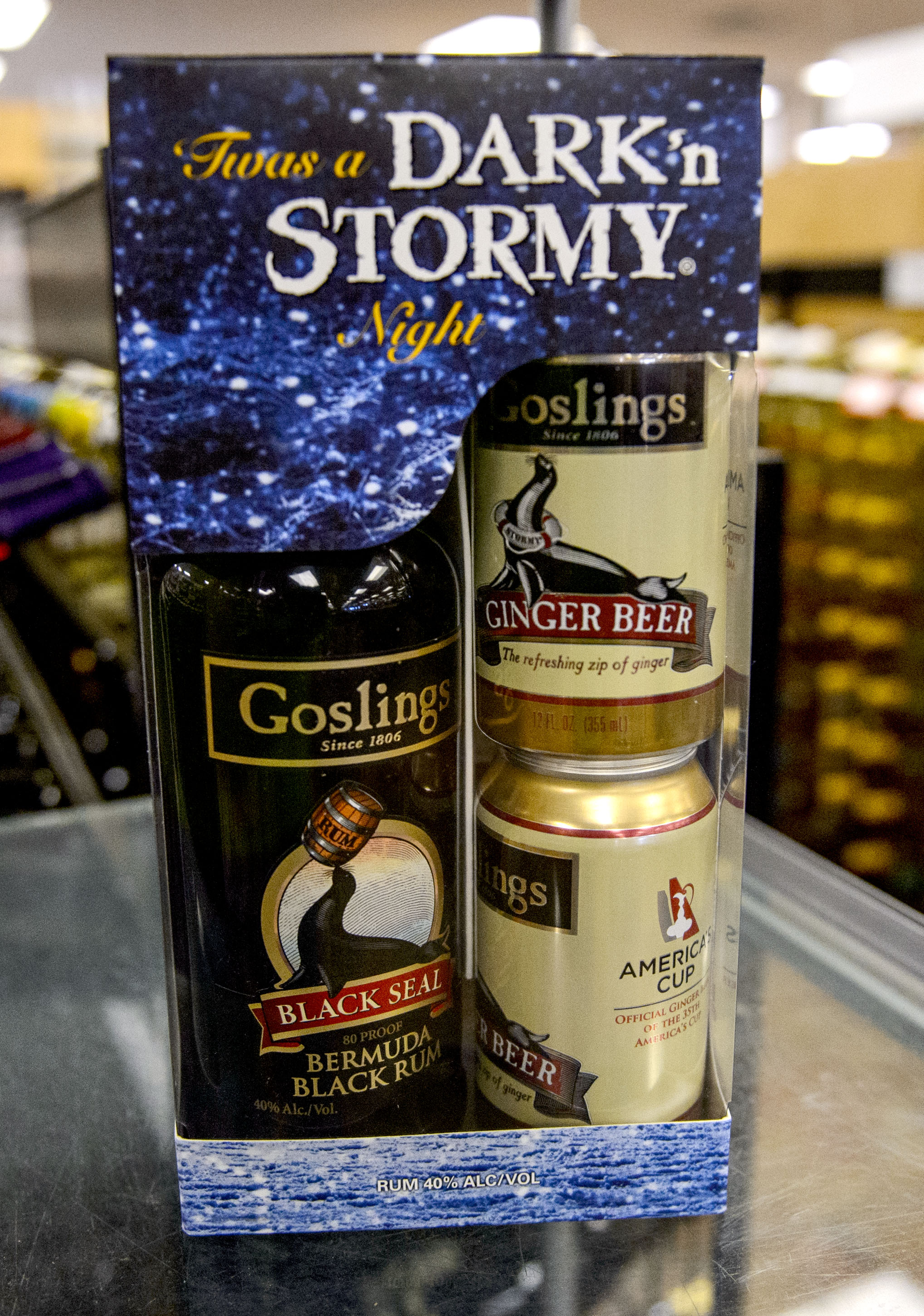 (Steve Griffin  |  The Salt Lake Tribune)  The Goslings gift set at the Utah State Liquor Store in West Valley City.