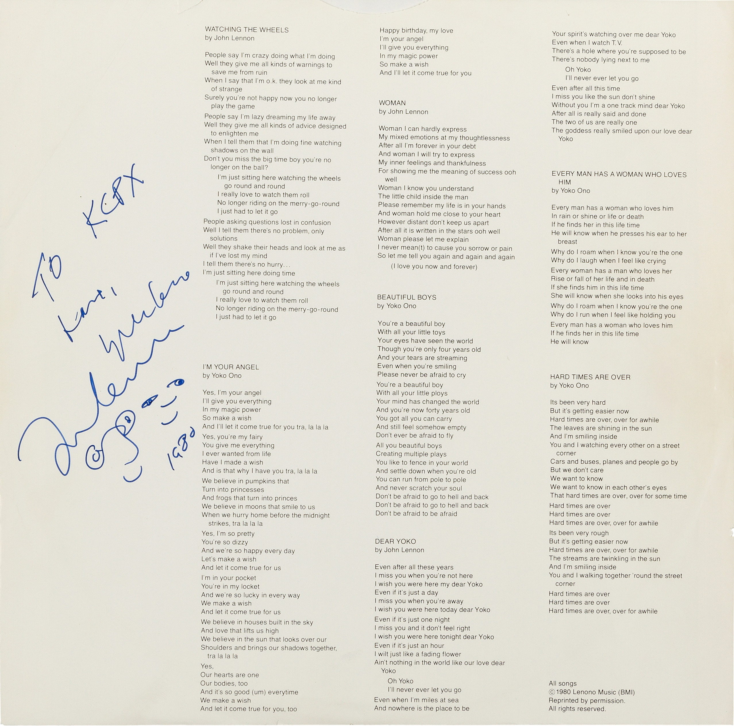 "(Photo courtesy of Heritage Auctions/HA.com) The inner sleeve of a promo copy of the John Lennon/Yoko Ono album ""Double Fantasy"" was autographed for Salt Lake City radio station KCPX just hours before Lennon was murdered on Dec. 8, 1980. The album was just put up for auction, with a starting bid of $50,000."