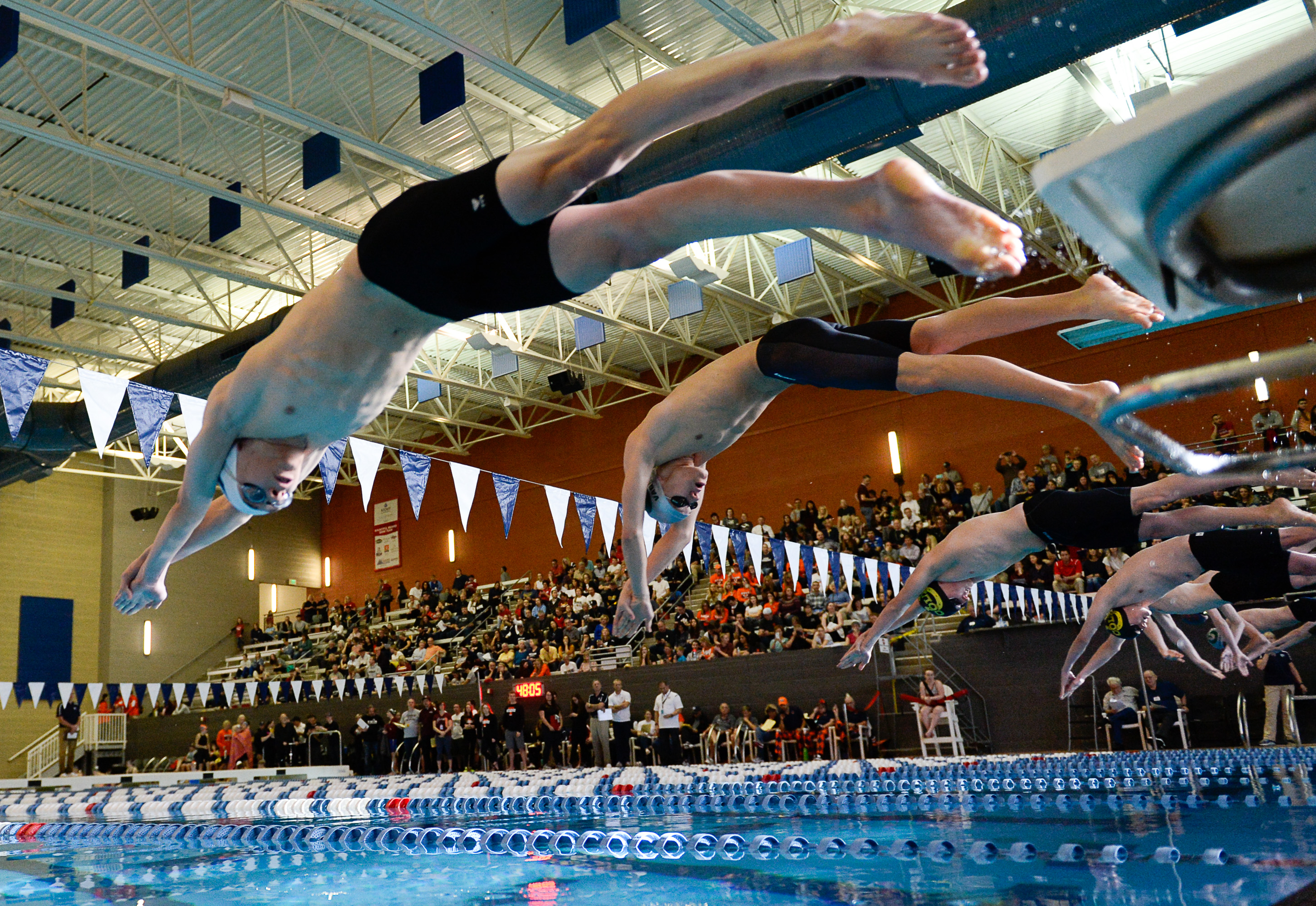 (Francisco Kjolseth  |  The Salt Lake Tribune)  Men compete in the 50 Yard Free at the high school swimming 5A State Championships in Bountiful, Friday February 9, 2018.