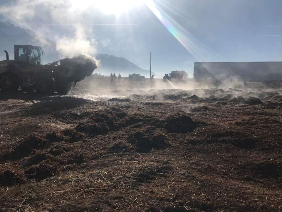 Crews tamp down fire at Young Living Lavender Farm in Mona