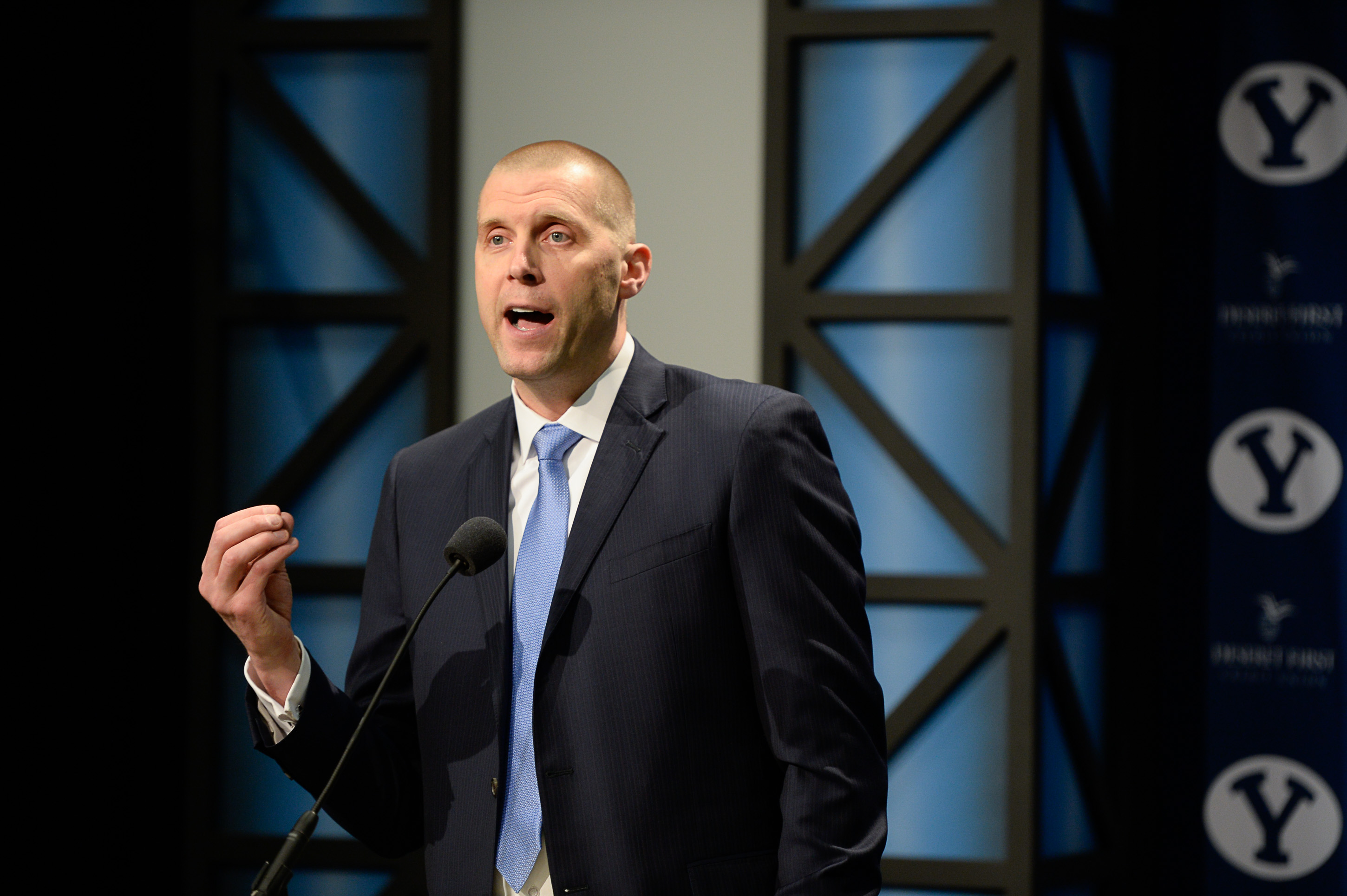 (Francisco Kjolseth  |  The Salt Lake Tribune)  BYU announces Mark Pope as its new head basketball coach during a press event at the BYU broadcasting building on Wed. April 10, 2019.