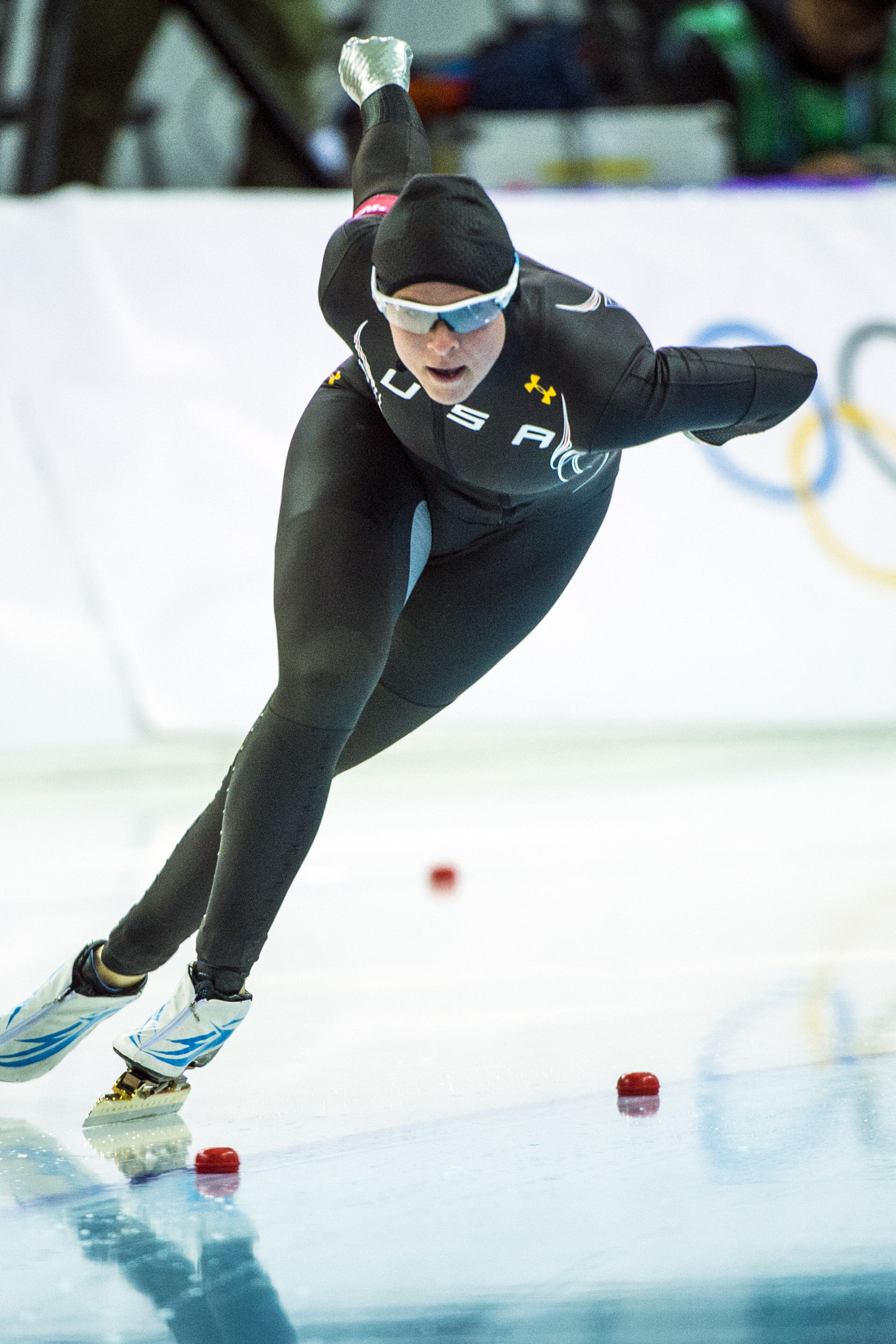 Brittany Bowe, of West Jordan, competes in the women's 1,000 meter speed skating race at Adler Arena Skating Center in the during the 2014 Sochi Olympics Thursday February 13, 2014. Bowe finished in eighth place with a time of 1:15.47.  (Photo by Chris Detrick/The Salt Lake Tribune)