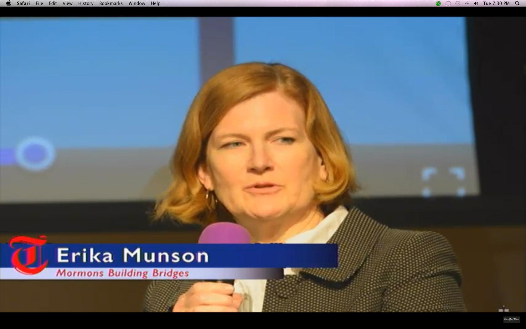 |  The Salt Lake Tribune  Erika Munson of Mormons Building Bridge during a Trib Talk.