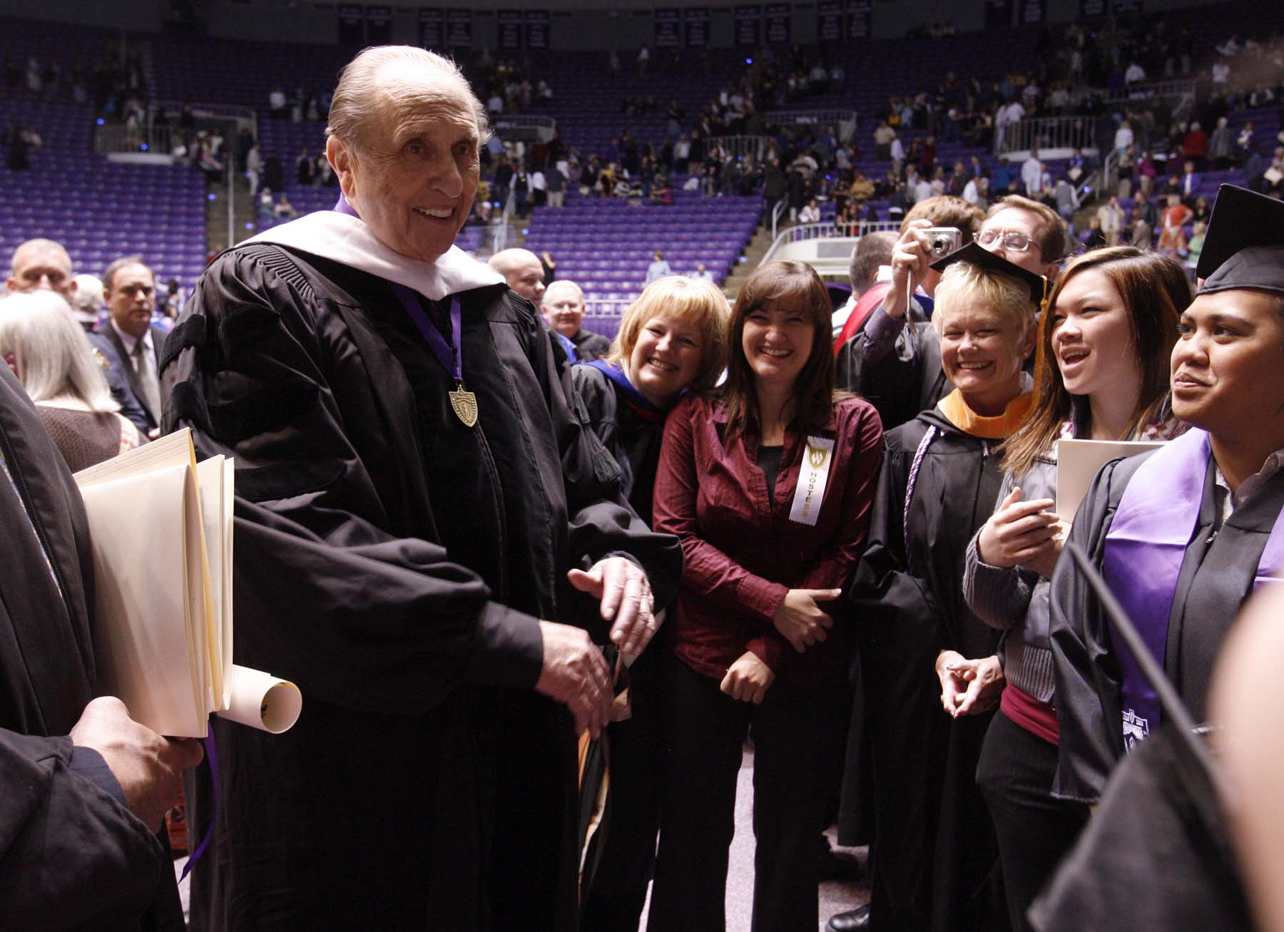 (Leah Hogsten  |  The Salt Lake Tribune) President Thomas S. Monson was given an honorary degree in humanities at the Weber State University's commencement on April 23, 2010.