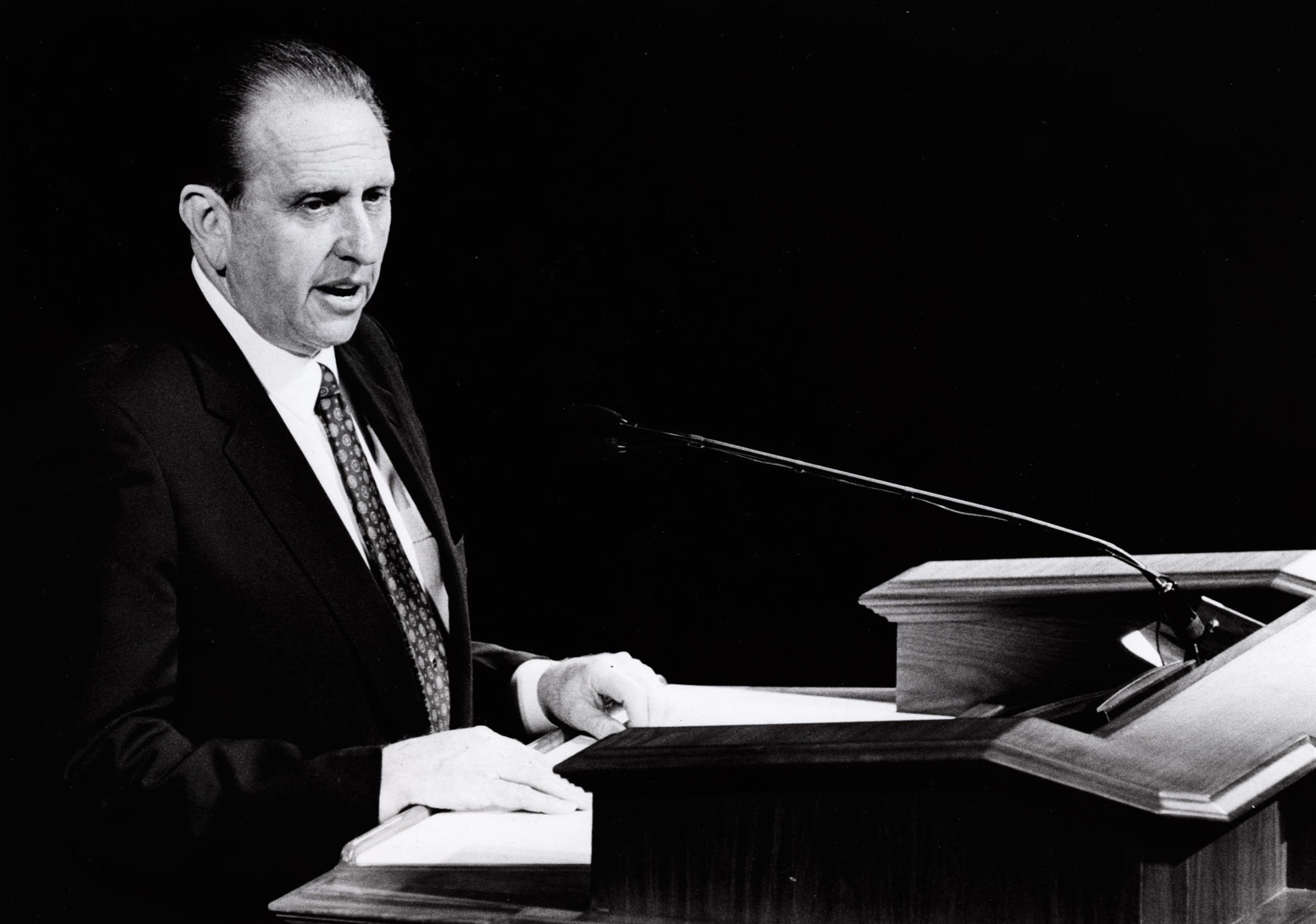(Tribune file photo) President Thomas S. Monson reads a talk in 1994 by President Ezra Taft Benson when Monson was serving as second counselor in the faithÕs First Presidency.