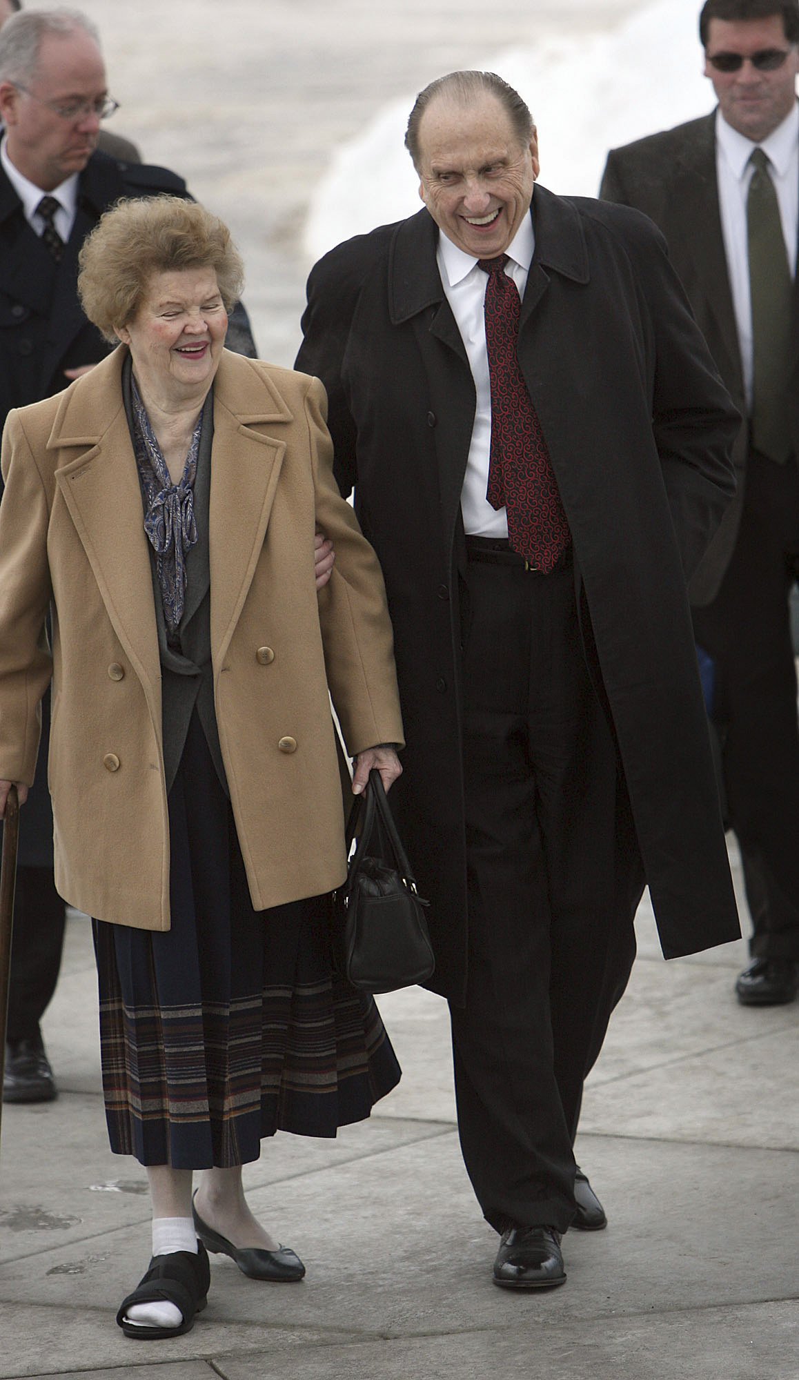 (Scott Sommerdorf  |  The Salt Lake Tribune) President Thomas S. Monson and his wife, Frances, stride up the walkway to the LDS temple in Rexburg, Idaho, on Feb. 10, 2008.