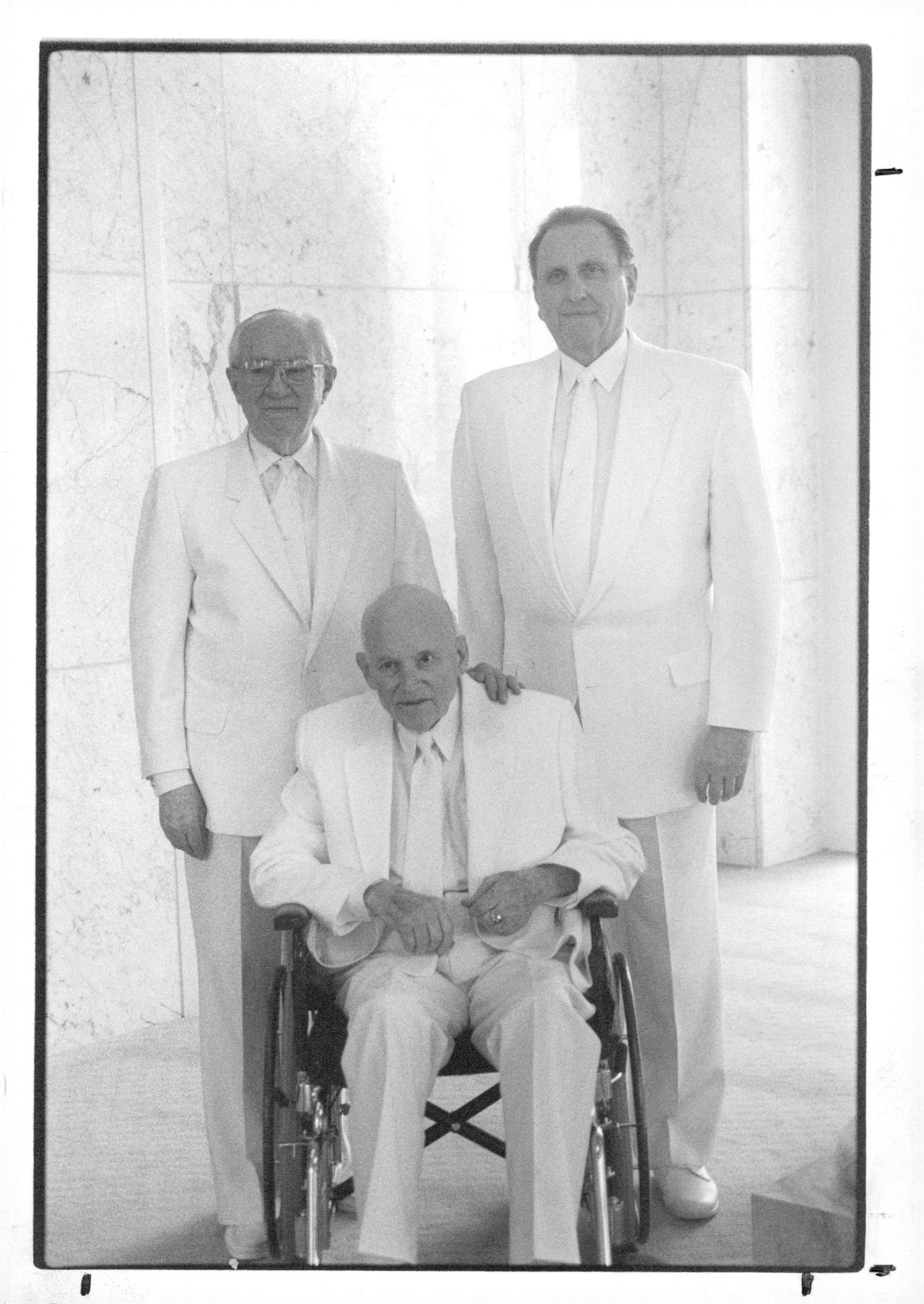(Tribune file photo) Left to right, Gordon B. Hinckley, President Howard W. Hunter, and Thomas S. Monson at the Bountiful Utah Temple on Jan. 10, 1995.
