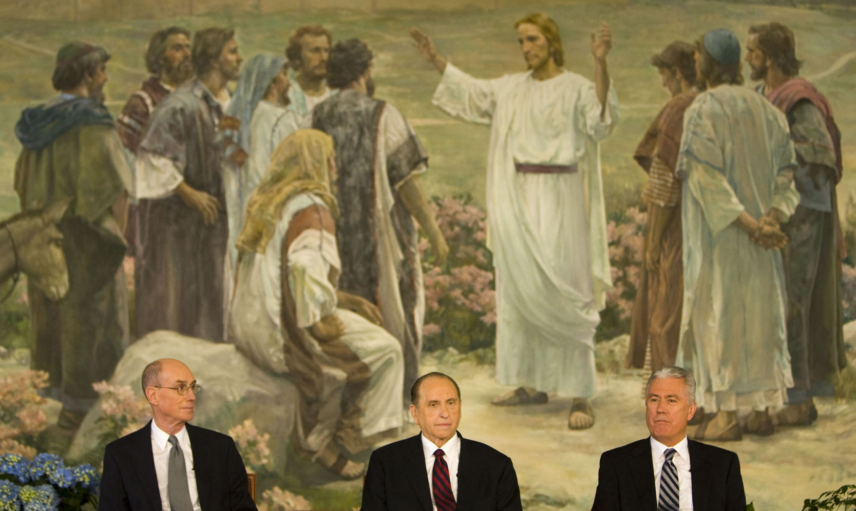 (Steve Griffin  |  The Salt Lake Tribune) President Thomas S. Monson (center) is flanked by Henry B. Eyring (left) and Dieter F. Uchtdorf (right) after Monson was named 16th president of the LDS Church on Feb. 4, 2008.