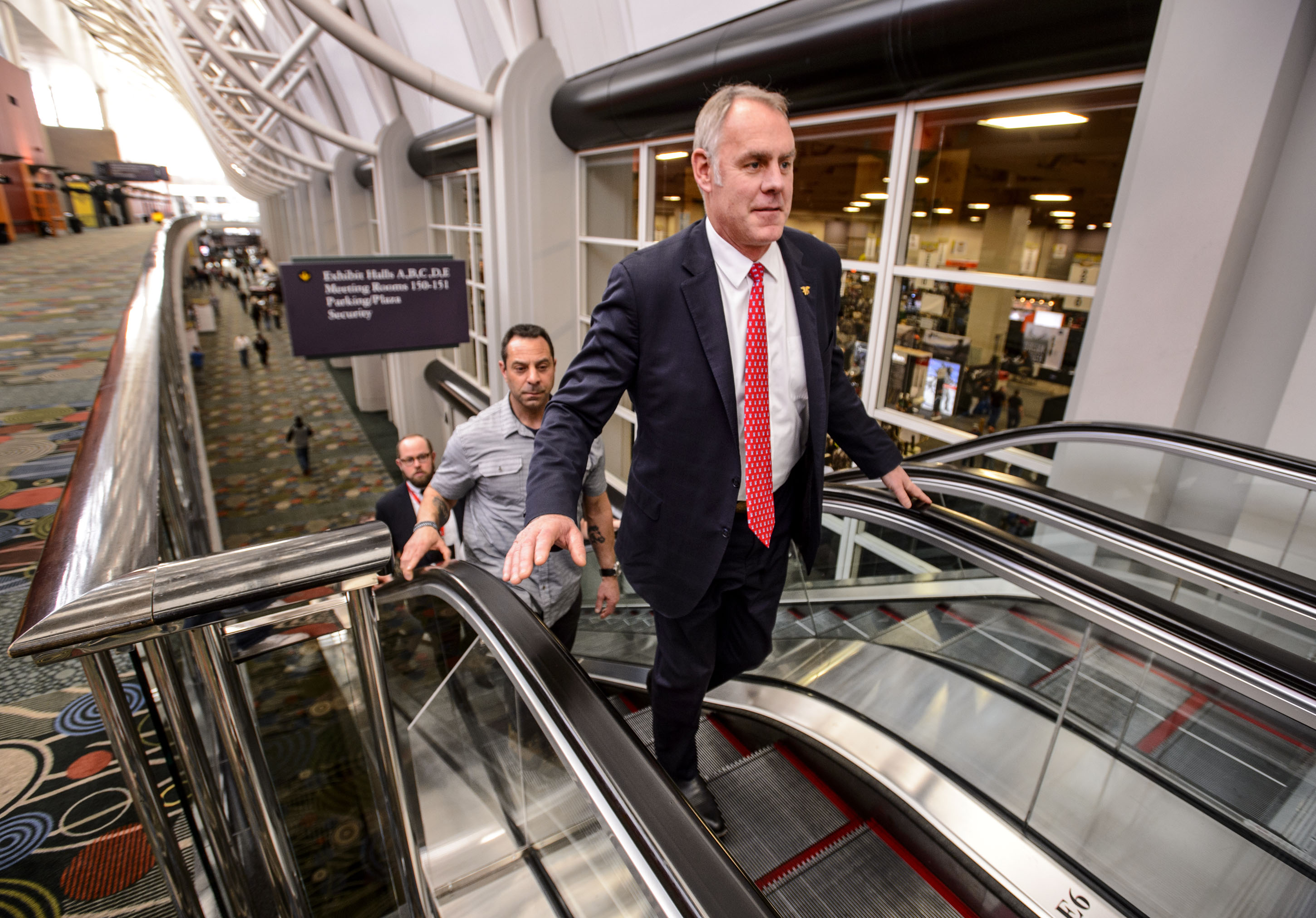 (Steve Griffin  |  The Salt Lake Tribune)  U.S. Secretary of the Interior Ryan Zinke walks through the Salt Palace Convention Center where he was scheduled to speak at the Western Hunting and Conservation Expo in Salt Lake City on Friday, Feb. 9, 2018.