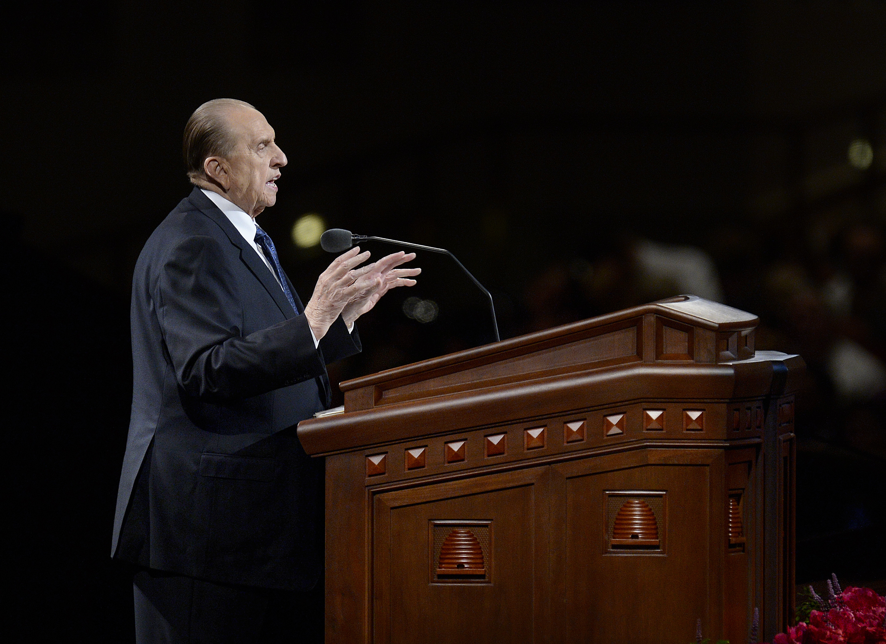 "(Scott Sommerdorf  |  The Salt Lake Tribune) President Thomas S. Monson delivers his talk ""Ponder the Path of Thy Feet"" at the end of the morning session of the 184th Semiannual LDS General Conference on Oct. 5, 2014."