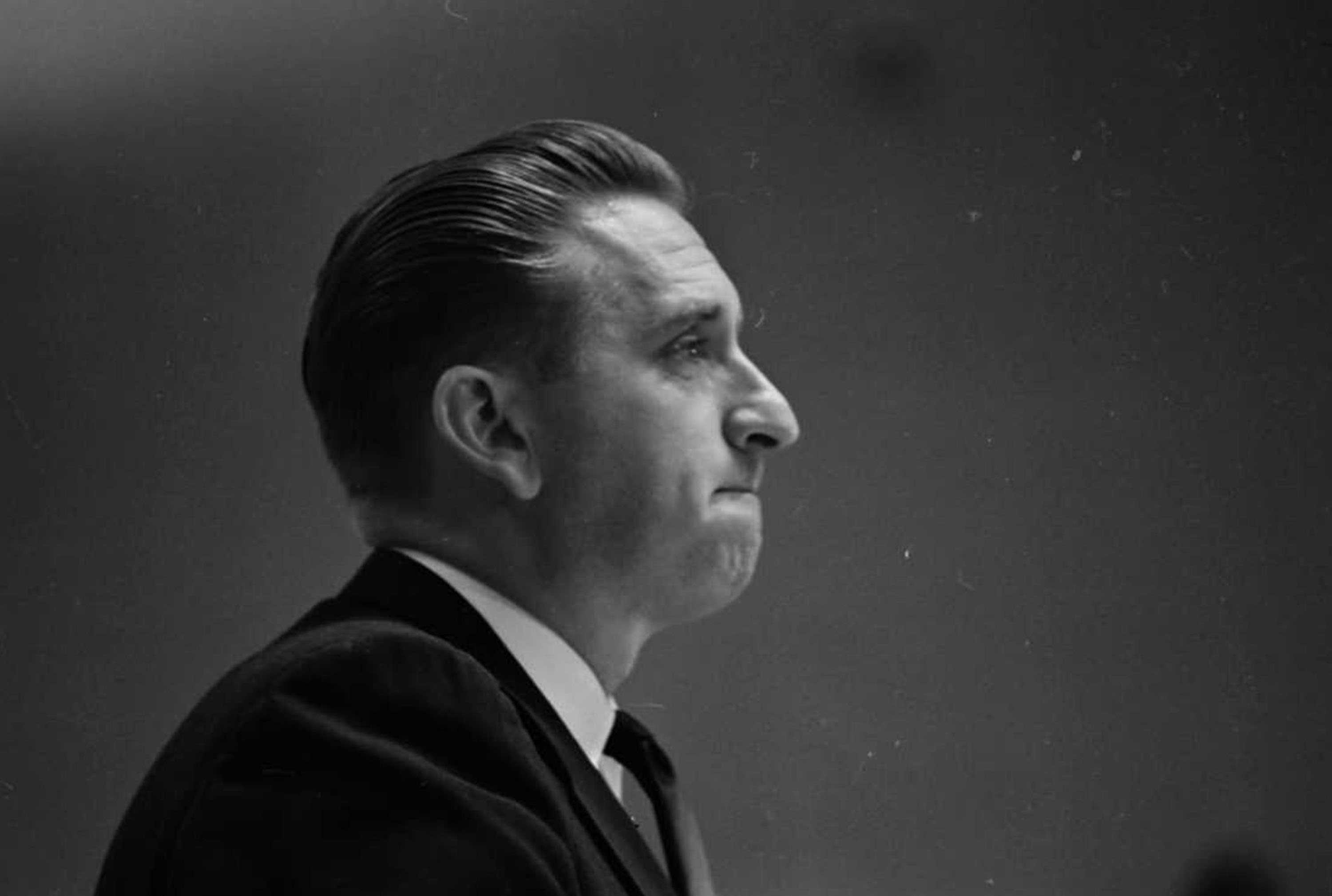 (photo courtesy Utah State Historical Society) Thomas S. Monson gives an emotional talk in the Semiannual General Conference after being sustained a member of the Quorum of the Twelve Apostles on Oct. 10, 1963.