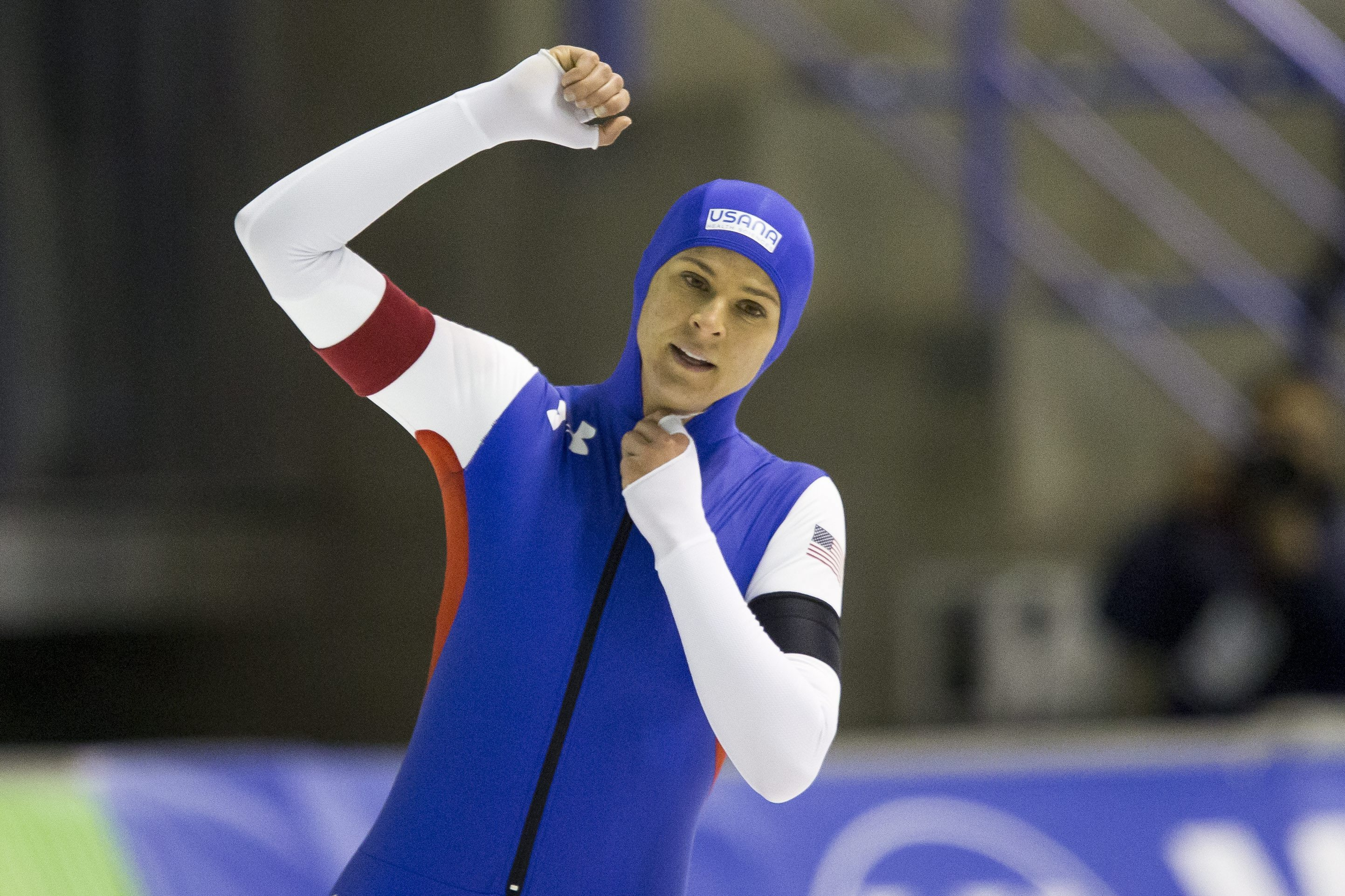 Brittany Bowe, of the United States, celebrates setting a new world record of 1 minute, 51.59 seconds during the women's 1,500 meters at the World Cup speedskating event in Calgary, Alberta, Sunday, Nov. 15, 2015. (Lyle Aspinall/The Canadian Press via AP)
