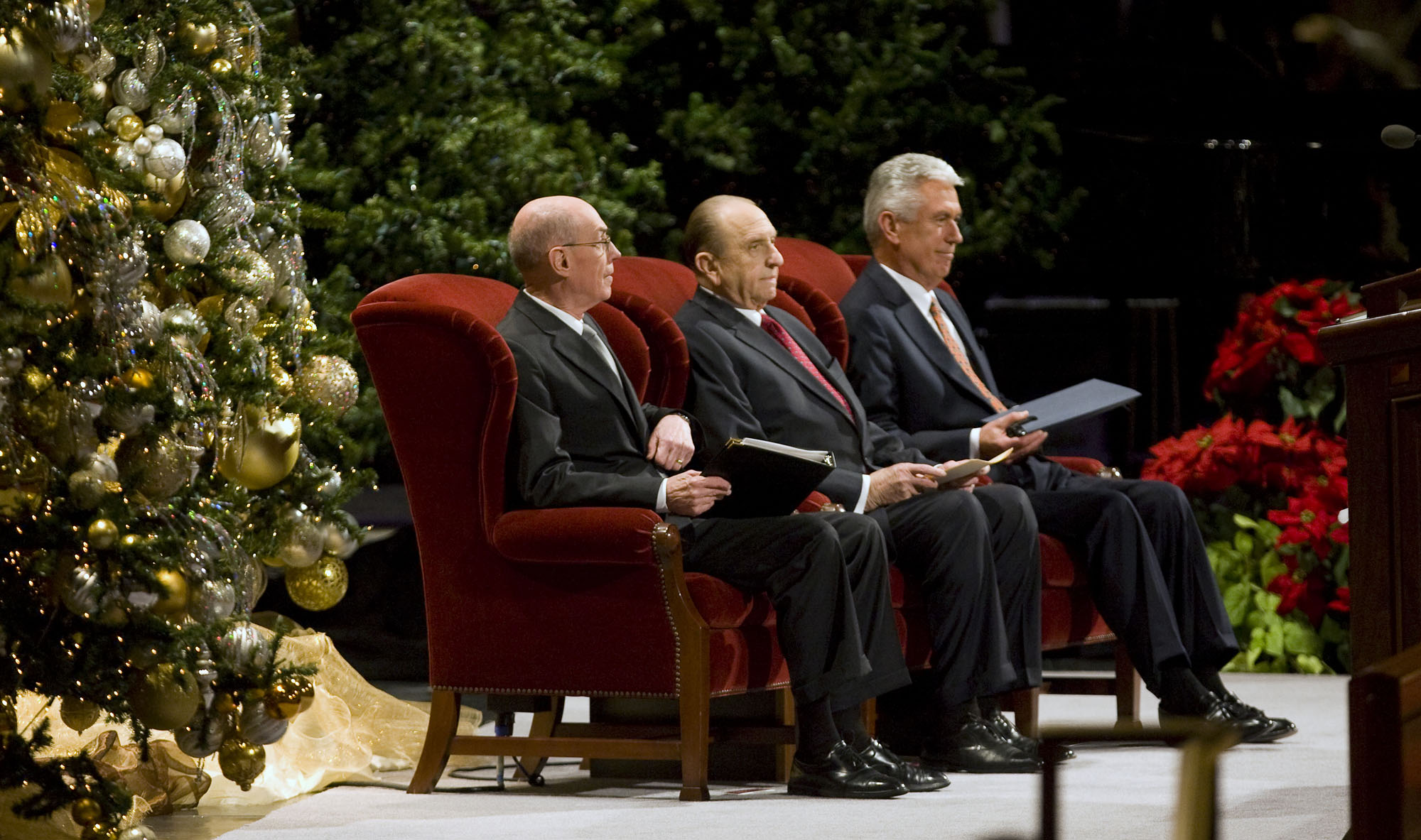 (Al Hartmann  |  The Salt Lake Tribune ) President Thomas S. Monson (center), with Henry B. Eyring (left) and Dieter F. Uchtdorf (right), at the Conference Center for the annual Christmas Devotional on Dec. 6, 2009.
