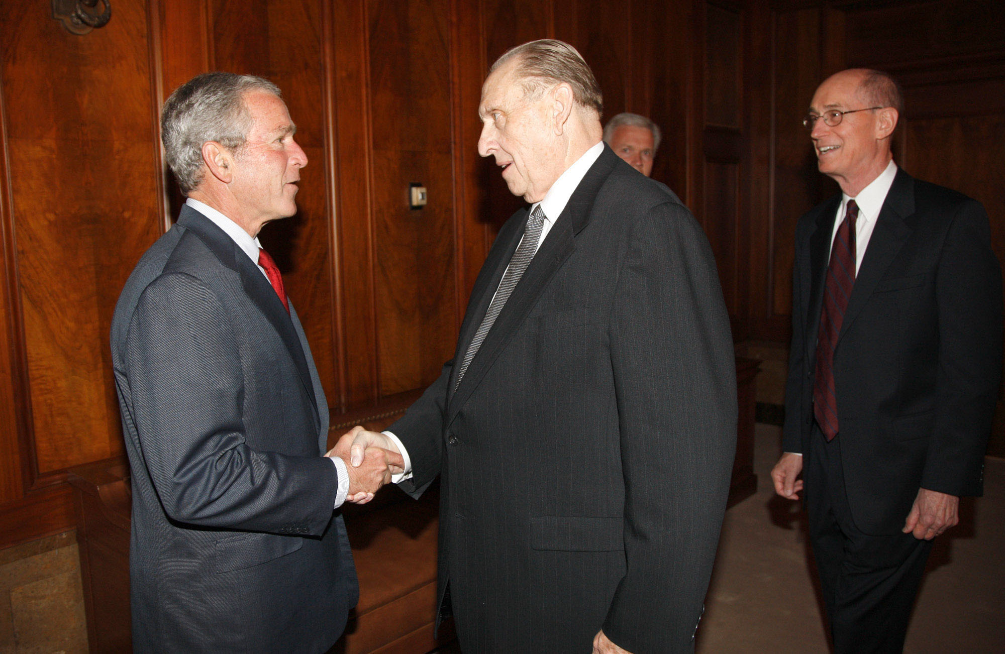 (White House photo by Eric Draper) President George W. Bush greets President Thomas S. Monson at the churchÕs headquarters on May 29, 2008.