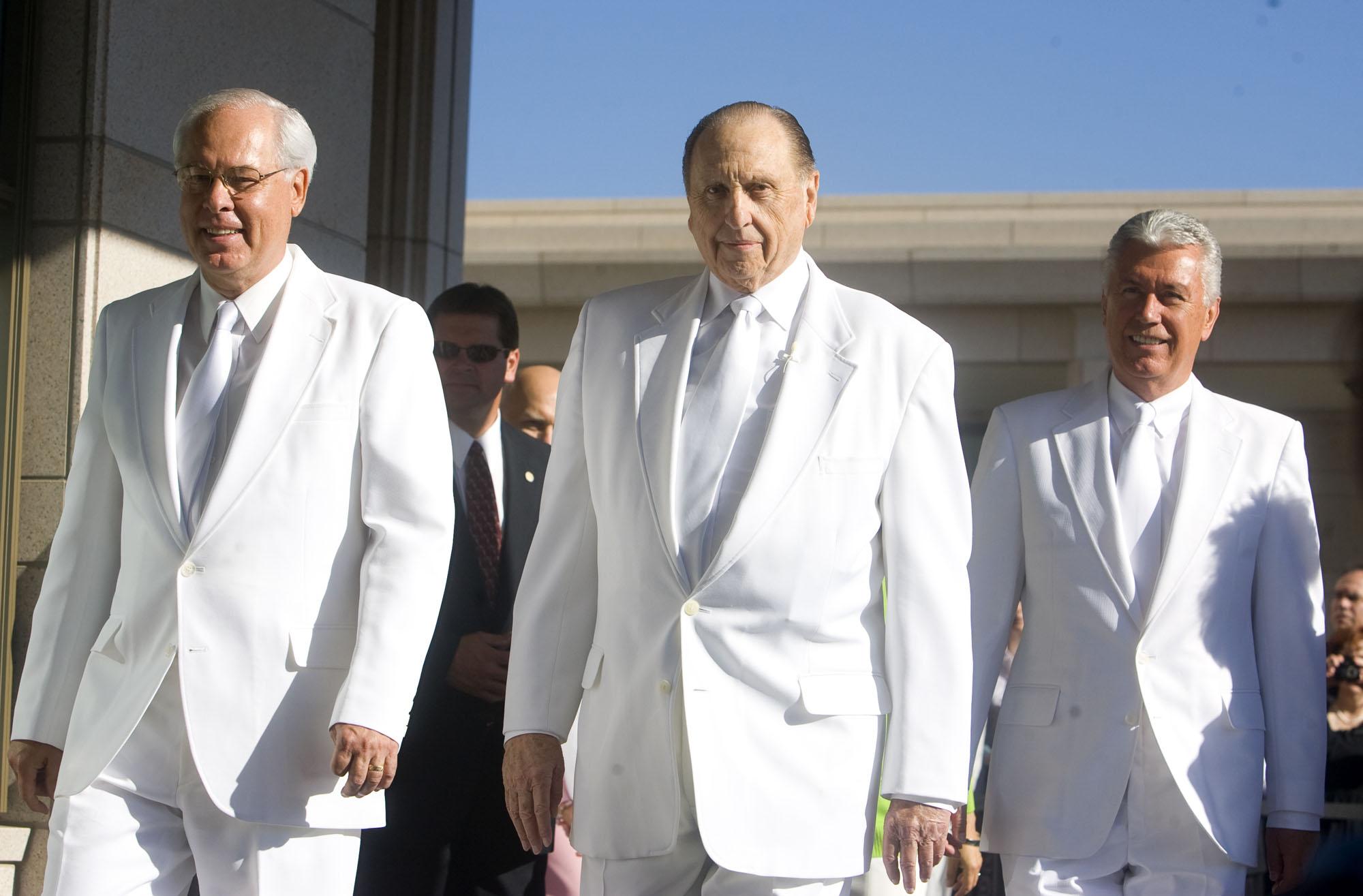 (Al Hartmann  |  The Salt Lake Tribune) Right to left, William R. Walker, President Thomas S. Monson and Dieter F. Uchtdorf presided over the traditional mortar ritual at the first dedication session for the Oquirrh Mountain Temple on Aug. 21, 2009.