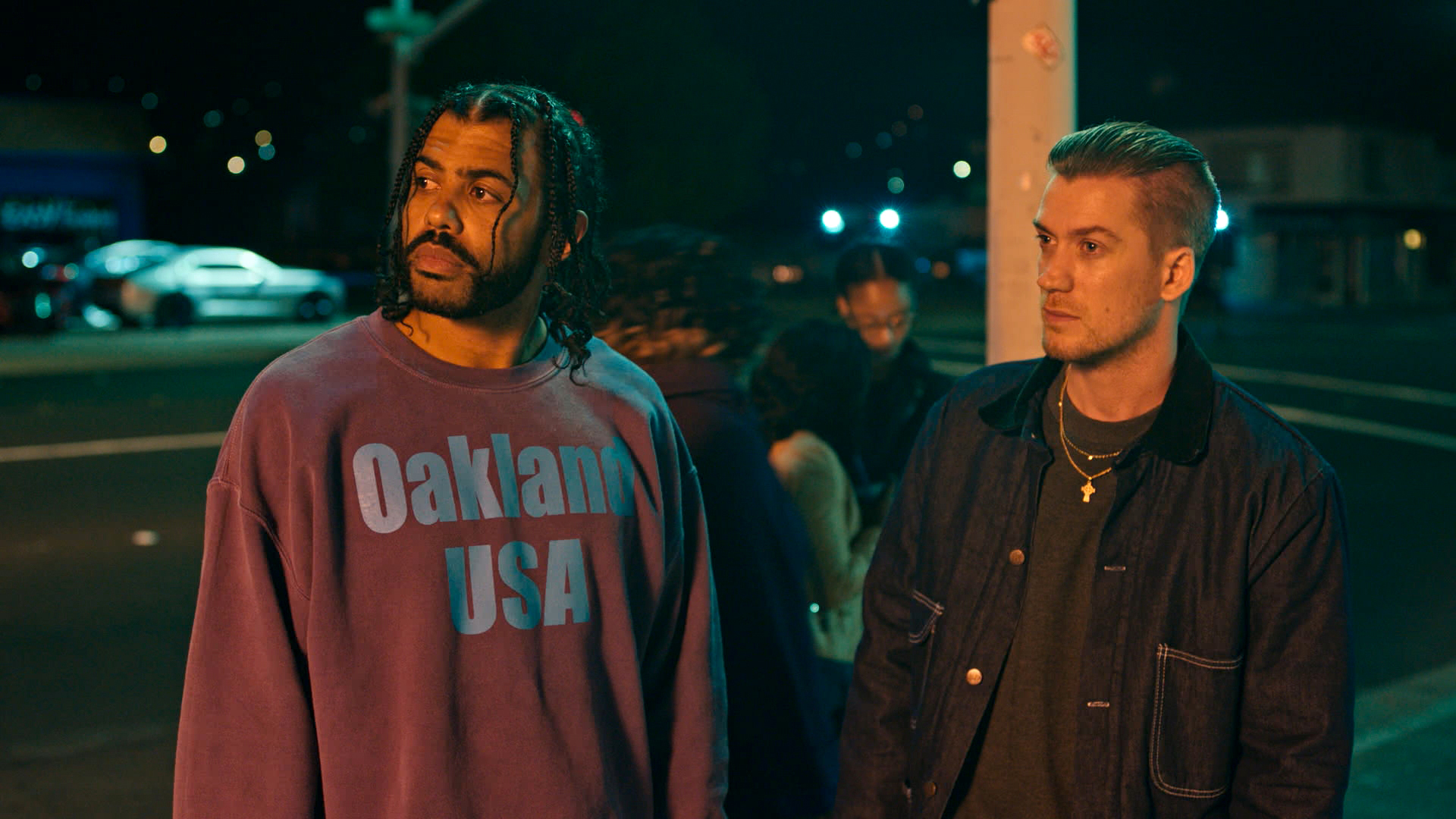 """(Lionsgate via Associated Press) Rafael Casal, right, and Daveed Diggs in a scene from """"Blindspotting,"""" in theaters on July 27."""