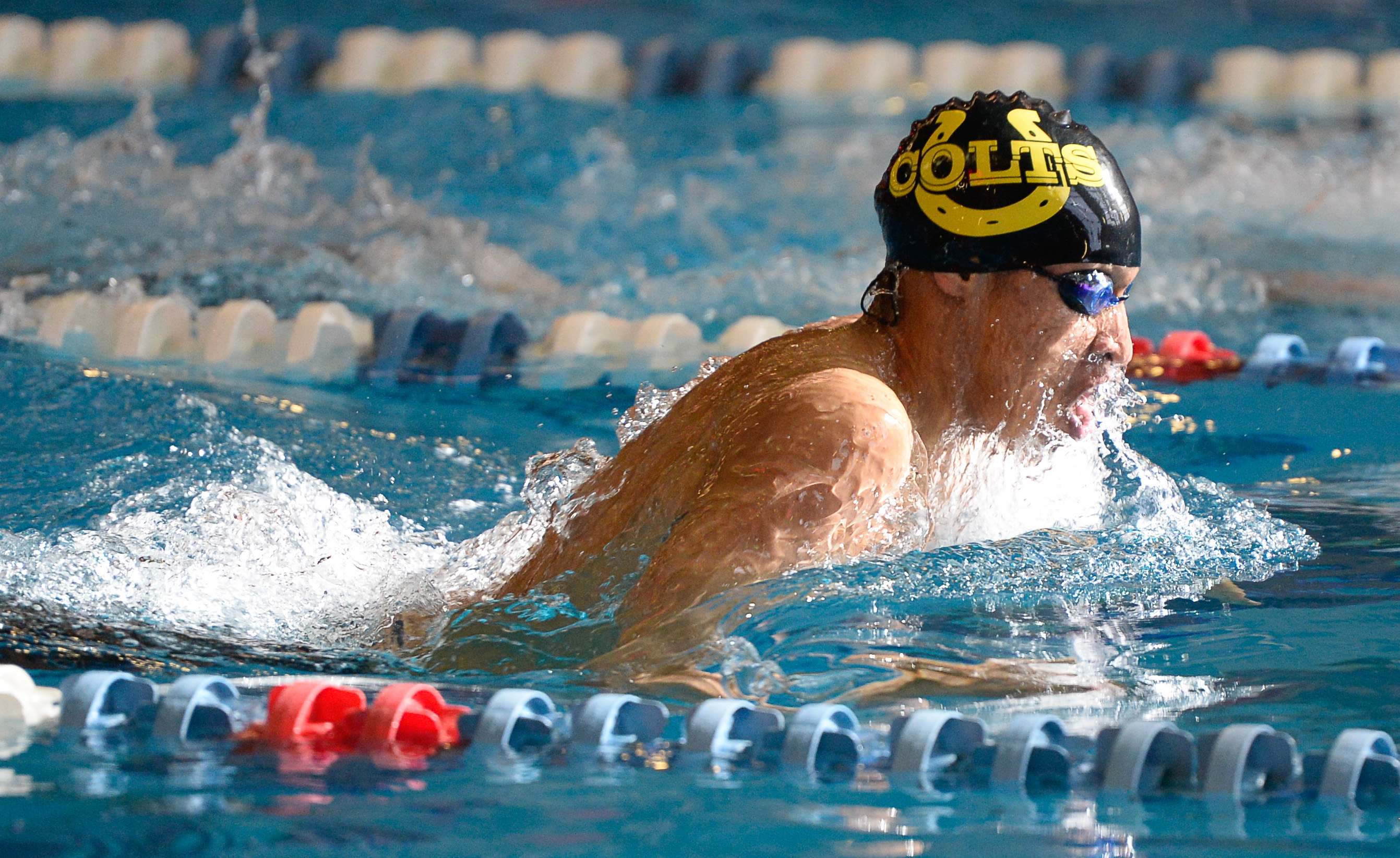 (Francisco Kjolseth  |  The Salt Lake Tribune)  Blayze Kimble of Cottonwood swims to a first win in the Men 200 Yard IM at the high school swimming 5A State Championships in Bountiful, Friday February 9, 2018.