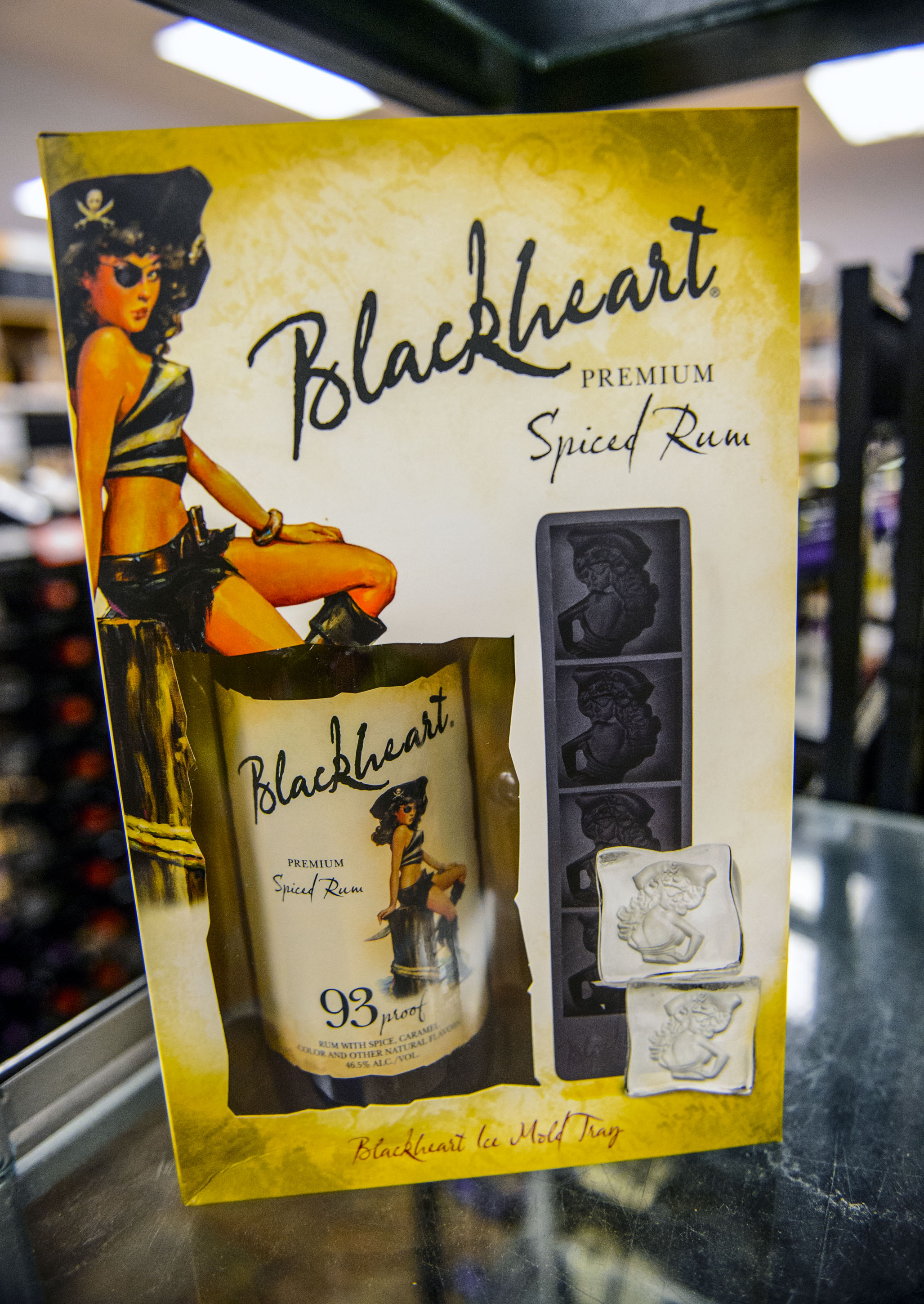 (Steve Griffin  |  The Salt Lake Tribune)  The Blackheart rum gift set at the Utah State Liquor Store in West Valley City.