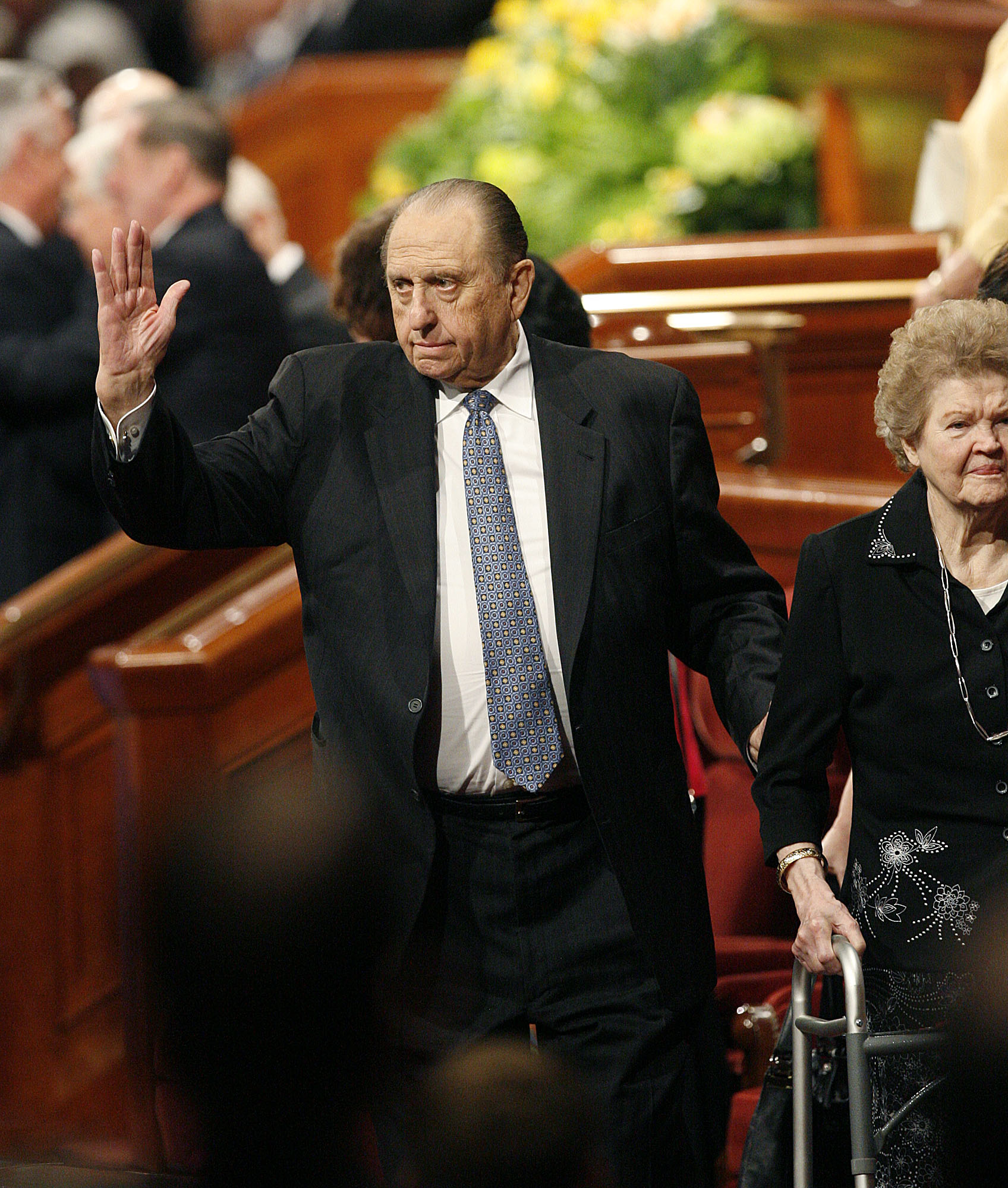 (Scott Sommerdorf  |  The Salt Lake Tribune) President Thomas S. Monson waves to the attendees as he leaves the morning session of the 181st Annual LDS General Conference on April 2, 2011.