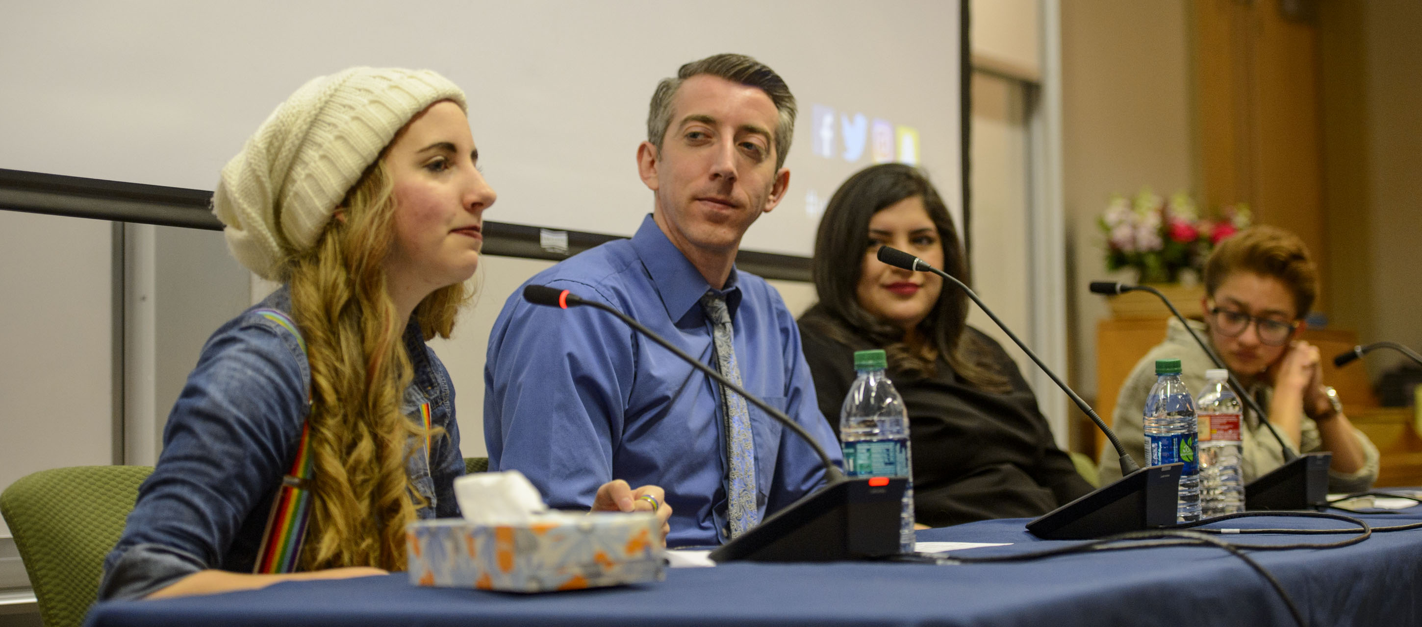 (Steve Griffin  |  The Salt Lake Tribune)  Panel members Kaitlynn, Ben, Sarah and Gabriel speak during a LGBTQ and SSA student forum at BYU in Provo, Thursday, March 15, 2018.