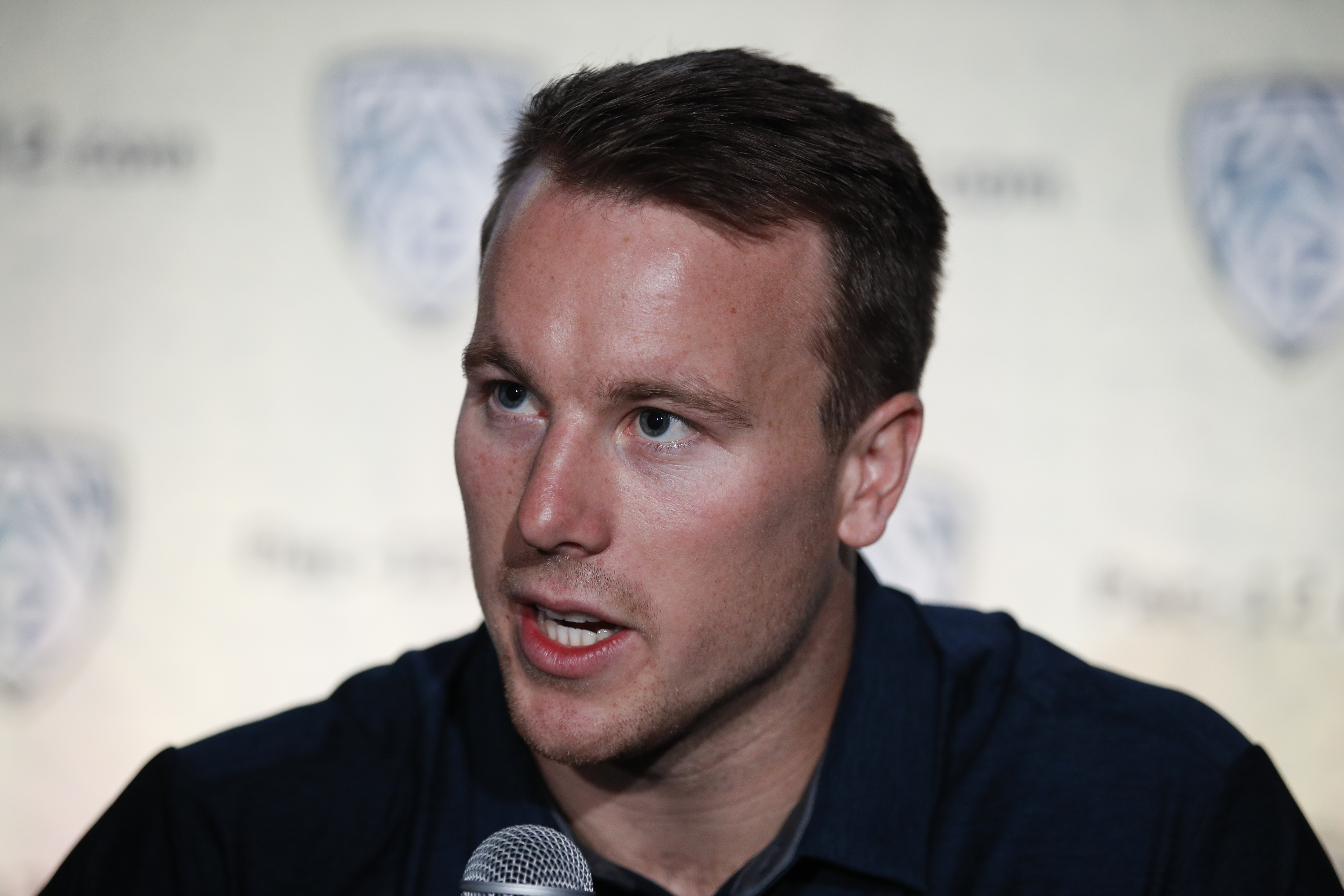 FILE - In this July 25, 2018, file photo, California running back Patrick Laird speaks at the Pac-12 Conference NCAA college football Media Day in Los Angeles. Laird has come from seventh-string walk-on to leading man on California's offense during his time with the Golden Bears. (AP Photo/Jae C. Hong, File)