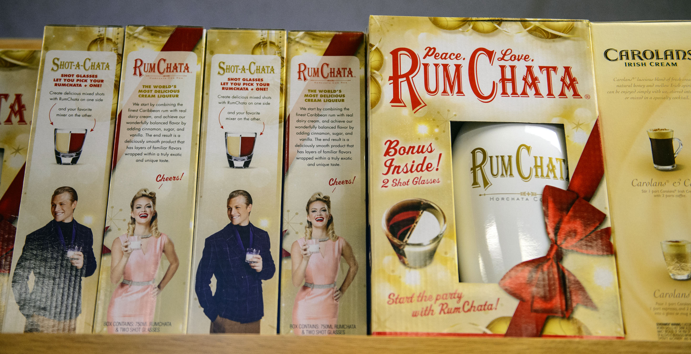 (Steve Griffin  |  The Salt Lake Tribune)  The Rum Chata gift set at the Utah State Liquor Store in West Valley City.