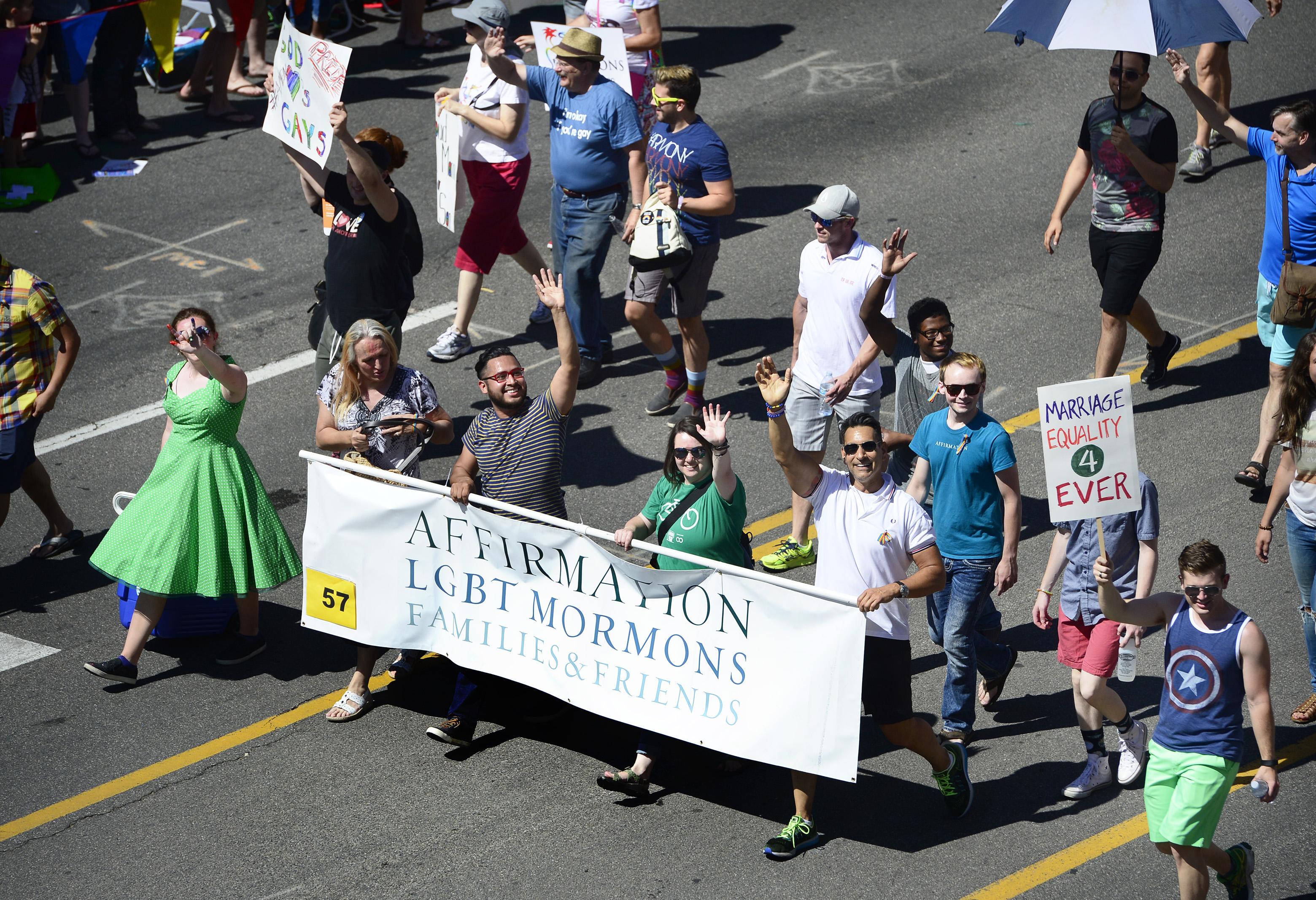 Scott Sommerdorf   |  The Salt Lake Tribune   Affirmation LGBT Mormons march during the 2016 Pride Parade on Sunday, June 5, 2016, in Salt Lake City.