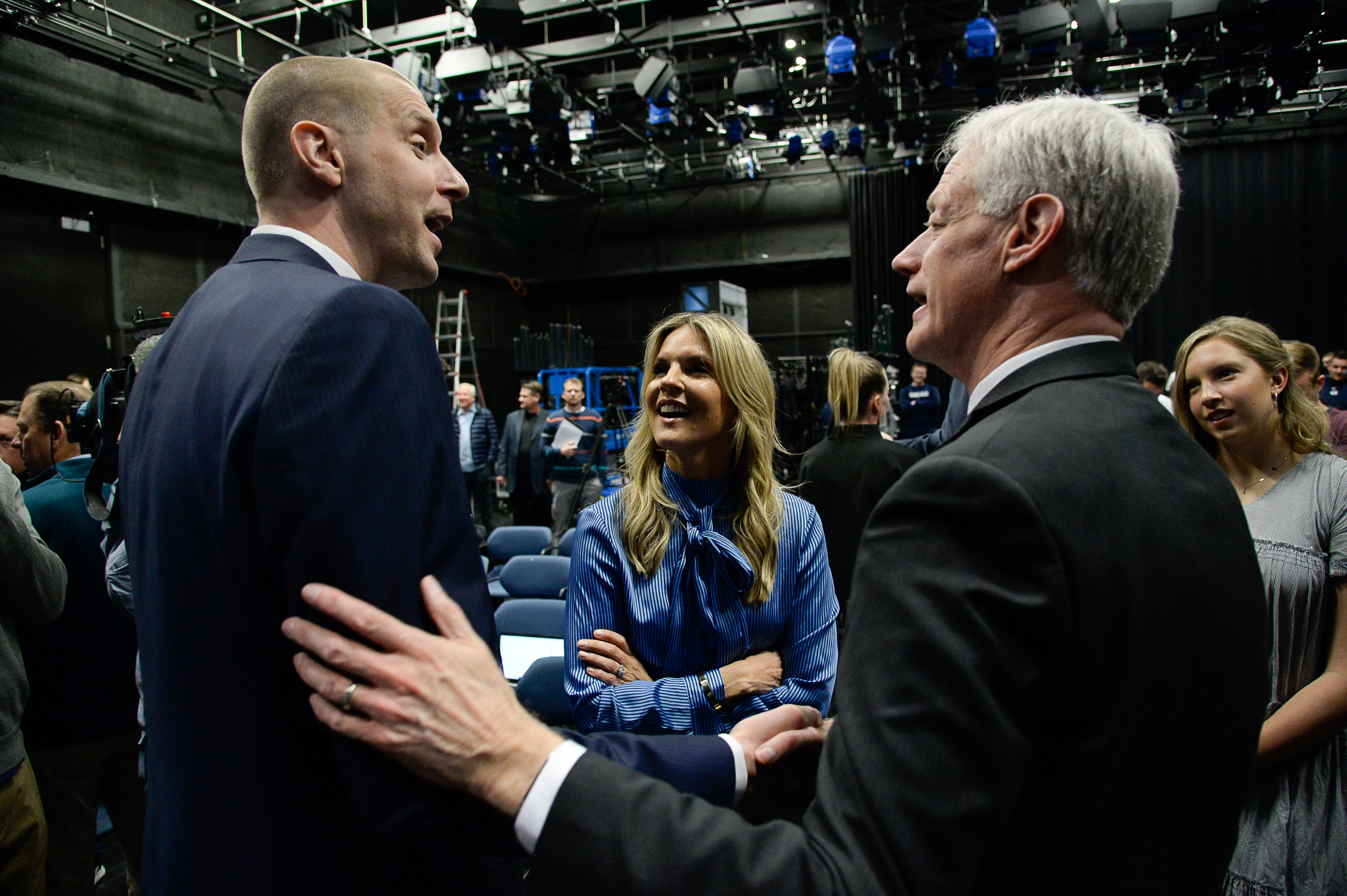 (Francisco Kjolseth  |  The Salt Lake Tribune)  Mark Pope, alongside his wife Lee Anne speaks with BYU president Kevin Worthen after being introduced as its new head basketball coach during a press event at the BYU broadcasting building on Wed. April 10, 2019.