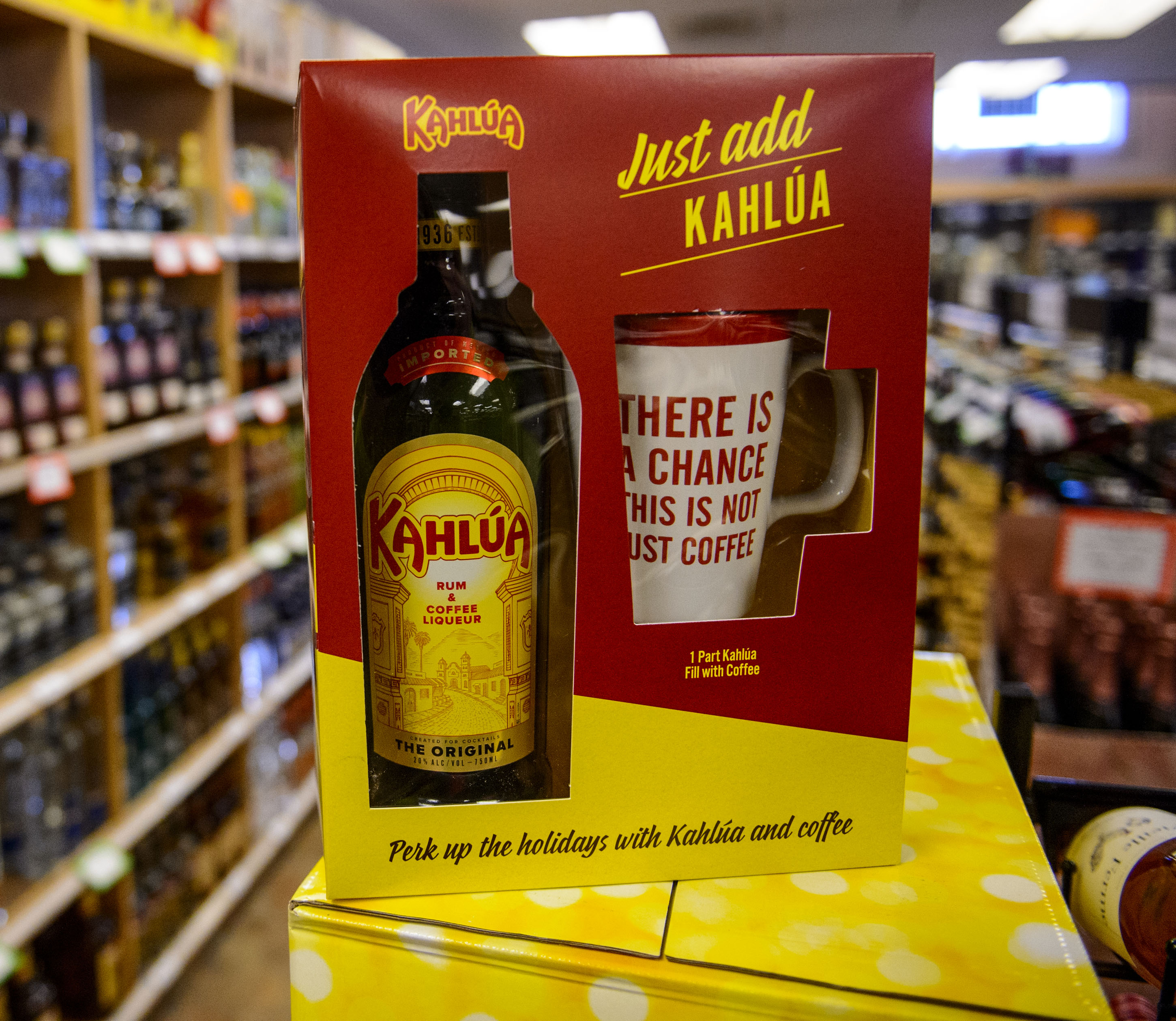 (Steve Griffin  |  The Salt Lake Tribune)  The Kahlua gift set at the Utah State Liquor Store in West Valley City.
