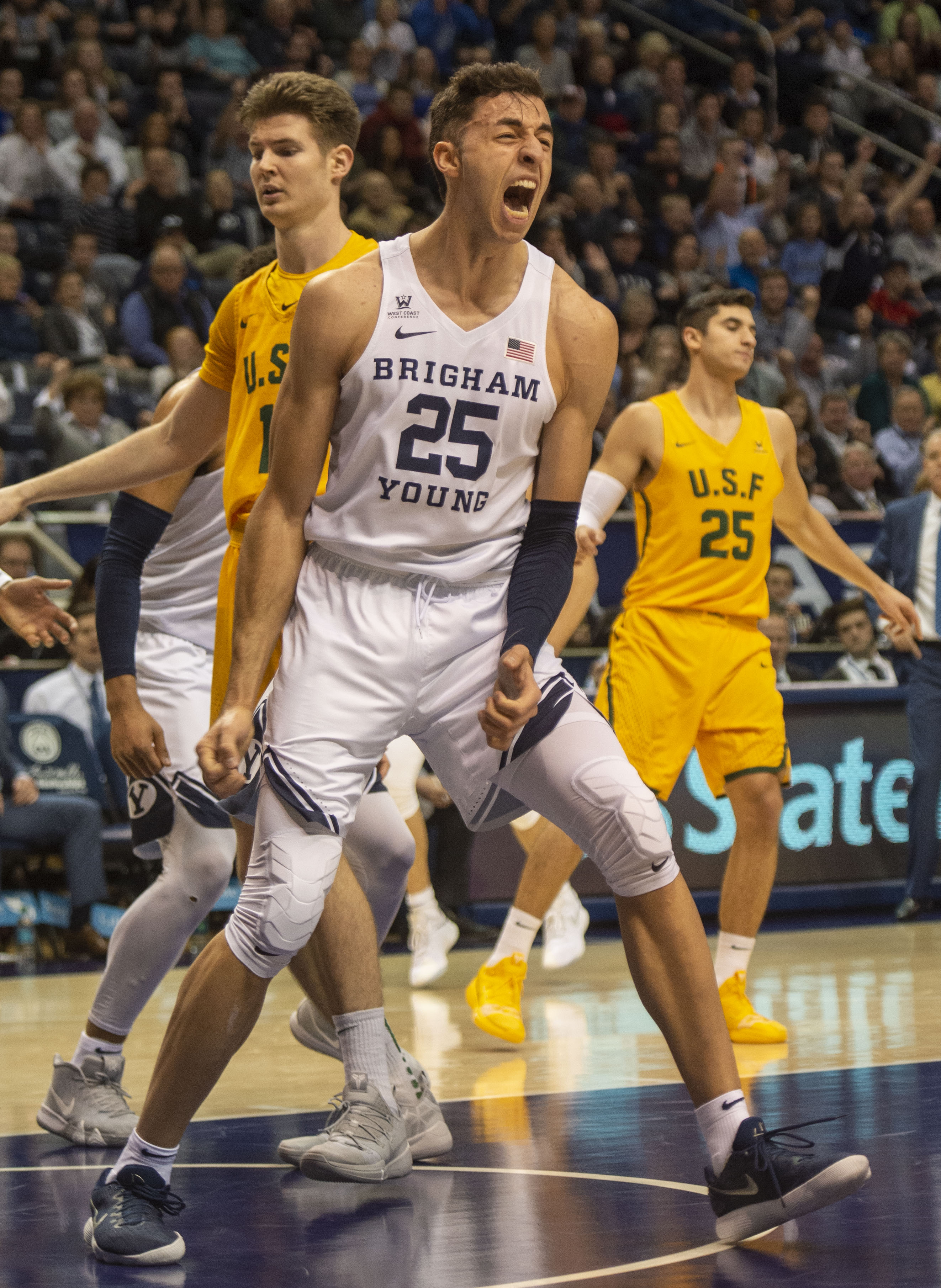 (Rick Egan  |  The Salt Lake Tribune)      Brigham Young Cougars forward Gavin Baxter (25) reacts as the Brigham Young Cougars extend their lead early in the second half, in WCC basketball action between Brigham Young Cougars and San Francisco Dons, at the Marriott  Center, Thursday, February 21, 2018.