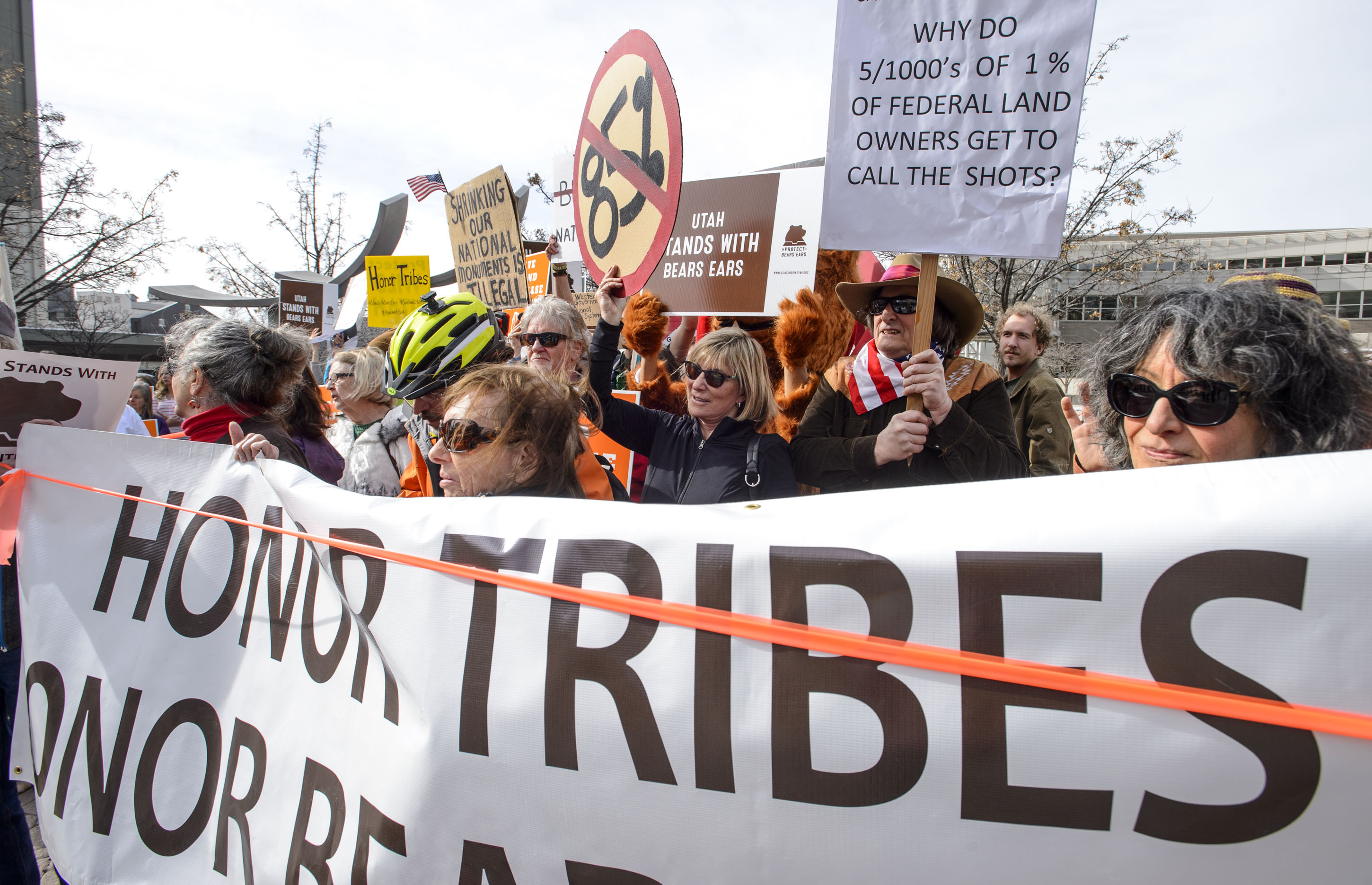 (Steve Griffin  |  The Salt Lake Tribune) Proponents of Bears Ears and Grand Staircase-Escalante national monuments rally outside the Salt Palace Convention Center in Salt Lake City on Friday, Feb. 9, 2018. SUWA organized the rally outside the Salt Palace Convention Center where U.S. Secretary of the Interior Ryan Zinke was scheduled to speak during the Western Hunting and Conservation Expo.