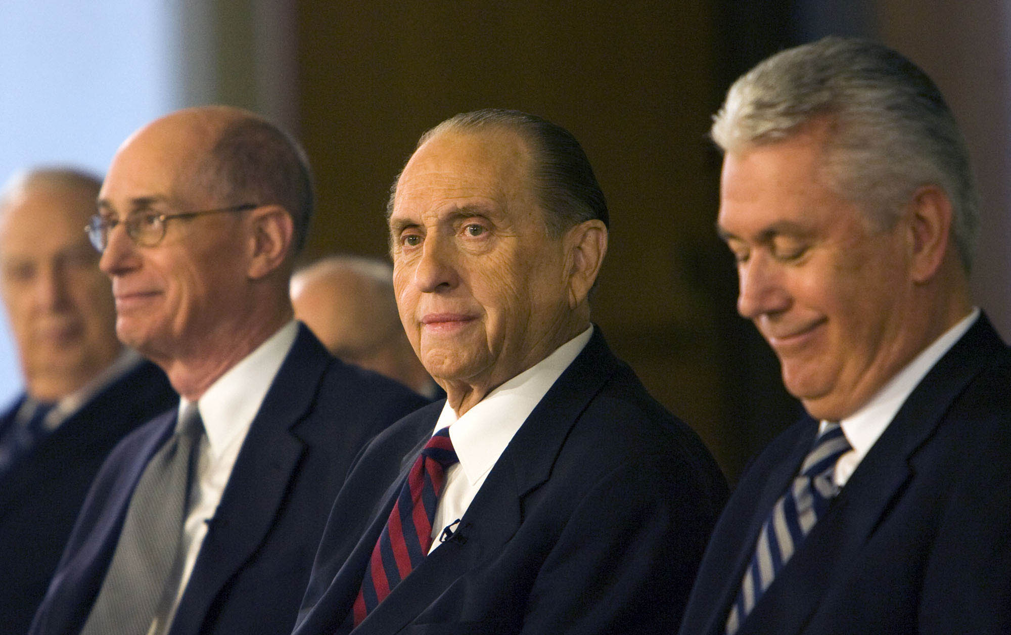 (Steve Griffin  |  The Salt Lake Tribune) President Thomas S. Monson (center) is flanked by Henry B. Eyring (left) and Dieter F. Uchtdorf (right), after Monson was named 16th President of the LDS Church. February 4, 2008