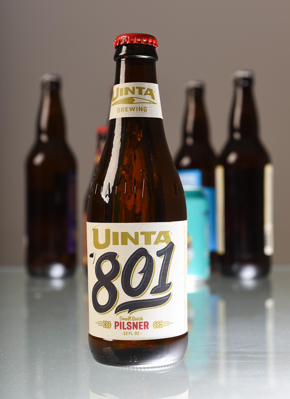(Francisco Kjolseth  |  The Salt Lake Tribune)  Utah's best beer names. Uinta 801 pilsner by Uinta Brewing.