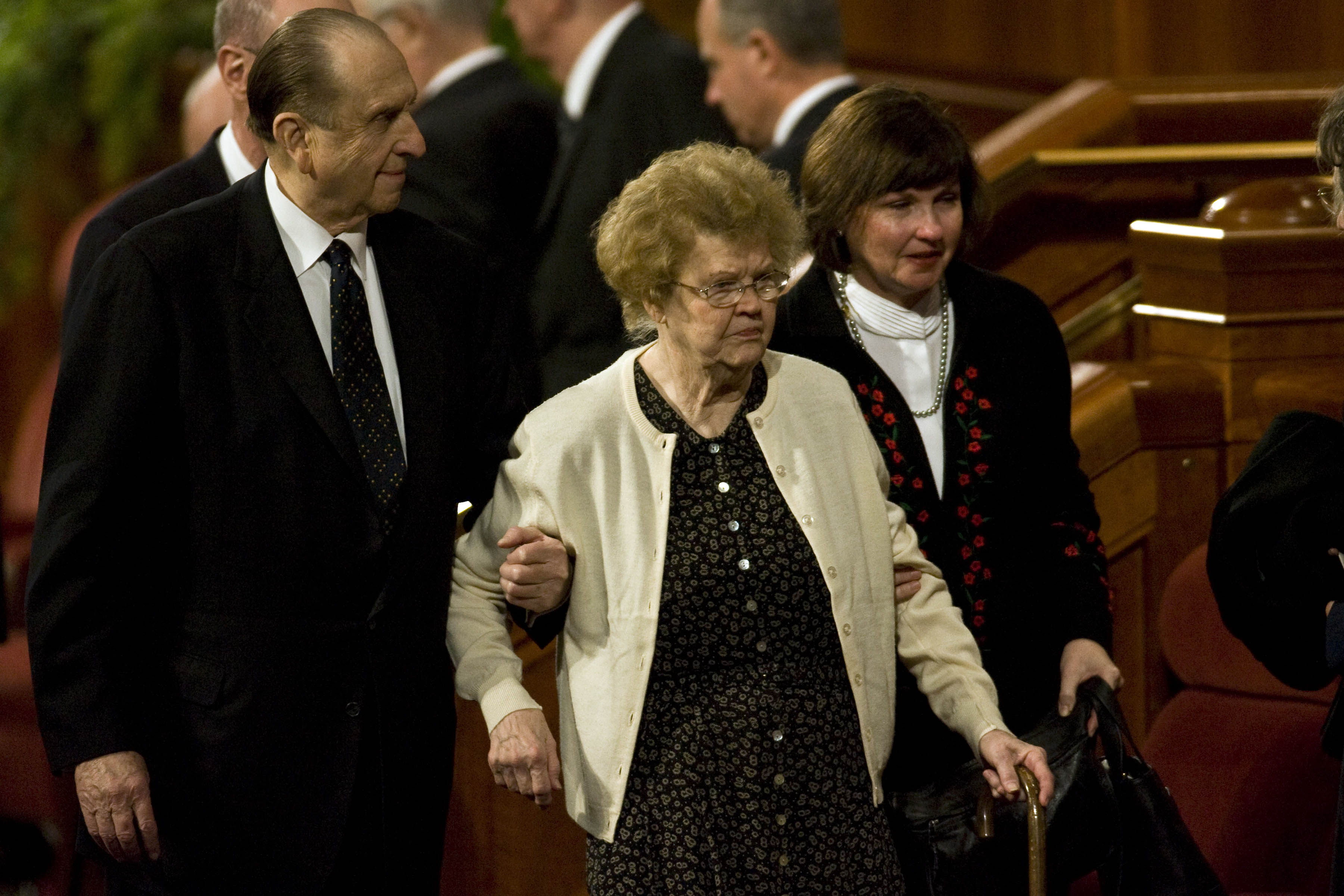 (Chris Detrick  |  The Salt Lake Tribune) President Thomas S. Monson walks out after the funeral services for LDS President Gordon B. Hinckley at the Salt Lake City LDS Conference Center on Feb. 2, 2008.