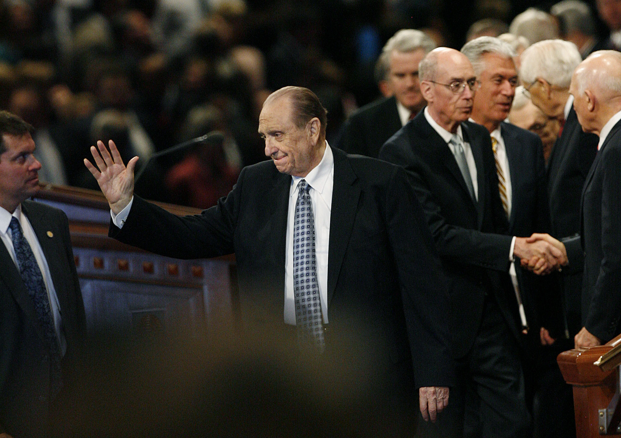 (Scott Sommerdorf  |  The Salt Lake Tribune) President Thomas S. Monson waves goodbye to those attending the afternoon session of the 181st Semiannual LDS General Conference on October 2, 2011.