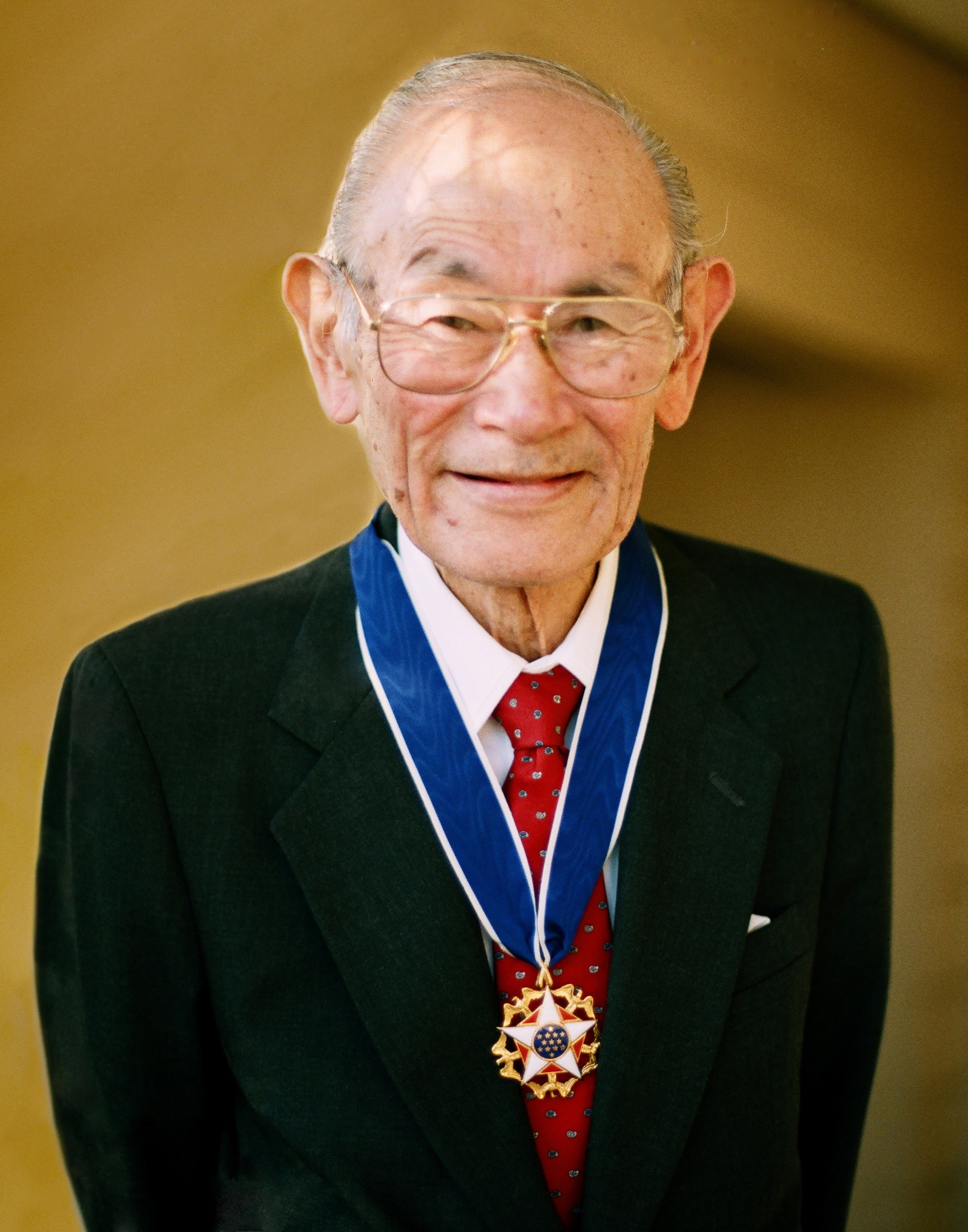 (Photo courtesy of The Korematsu Institute)  Utah Gov. Gary Herbert issued a proclamation in 2013 designating Jan. 30 as Fred Korematsu Day in honor of the former internee at Utah's Topaz internment camp who went on to make history. Korematsu is pictured here with his Presidential Medal of Freedom, granted in 1998. Korematsu died in 2005 at age 86.